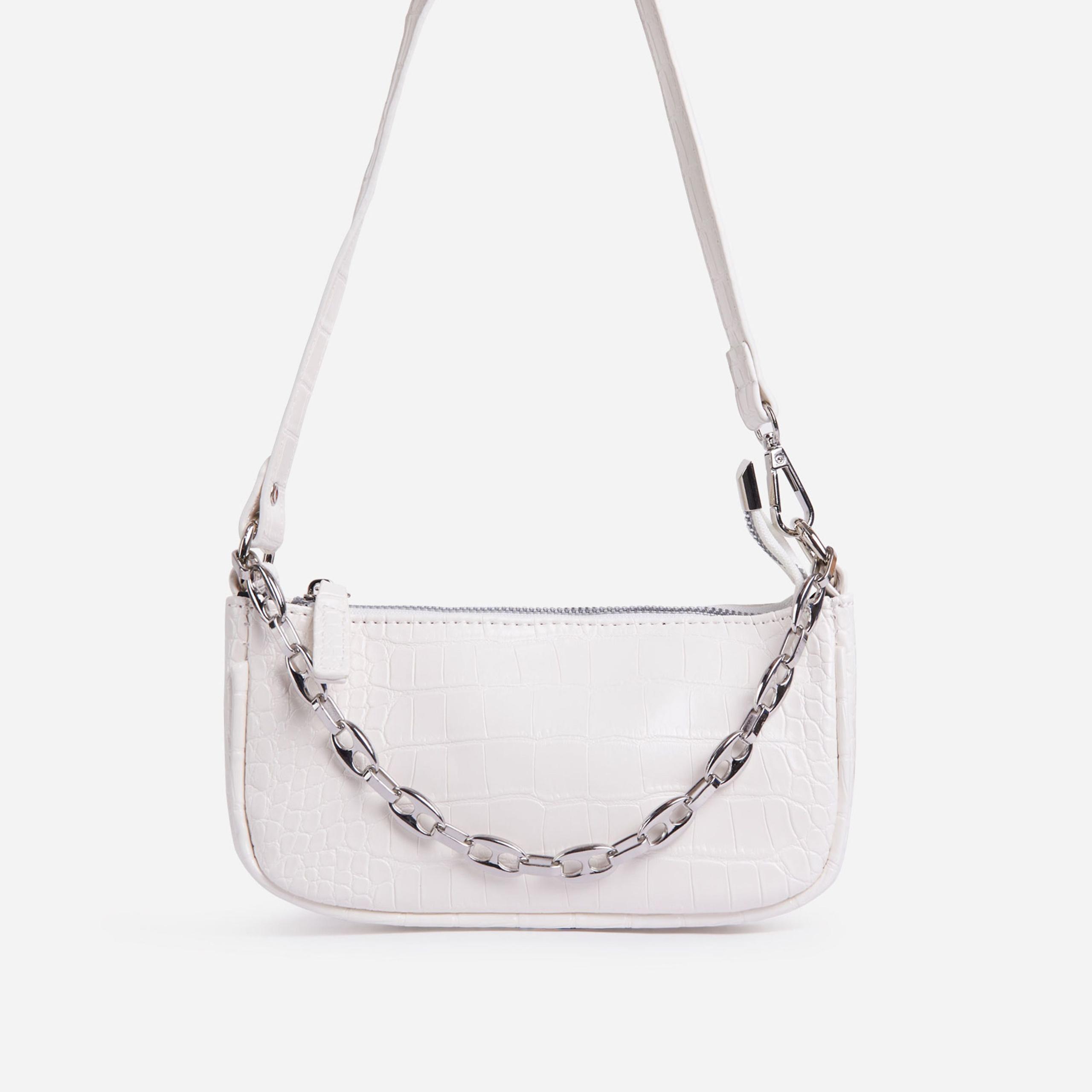 Daisy Chain Detail Baguette Bag In White Croc Print Faux