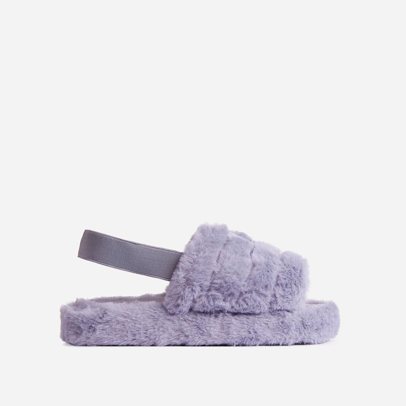Boo Fluffy Stripe Slipper In Grey Faux Fur Image 1