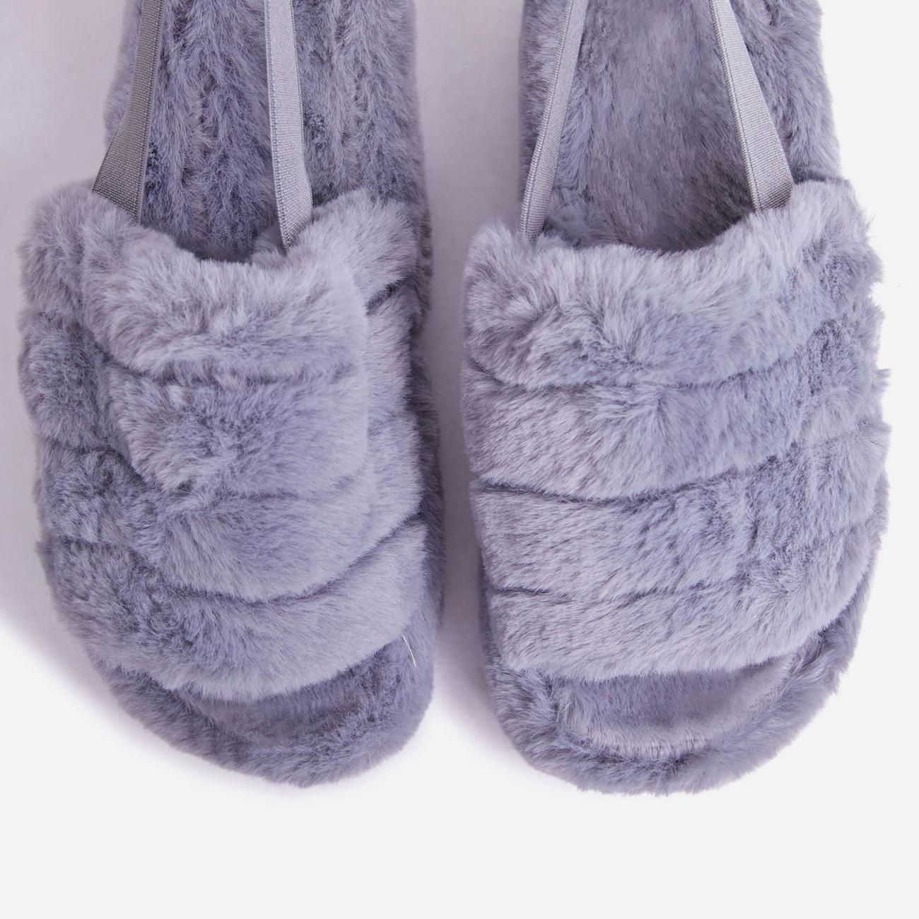 Boo Fluffy Stripe Slipper In Grey Faux Fur Image 3