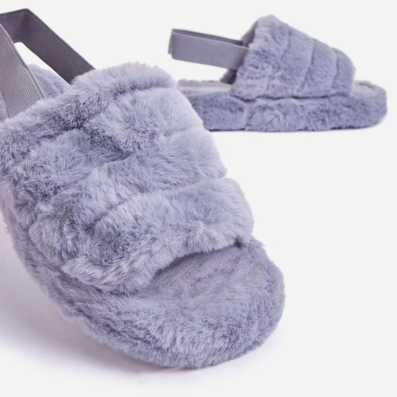 Boo Fluffy Stripe Slipper In Grey Faux Fur Image 4