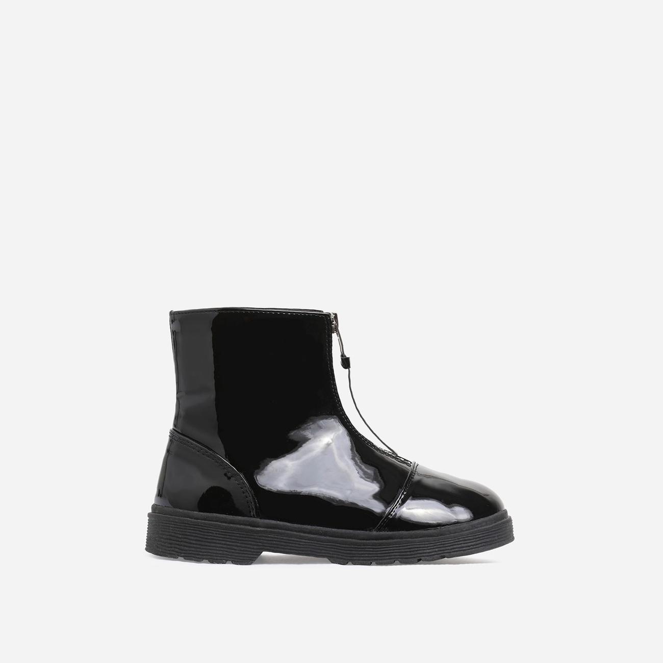 black patent girls boots