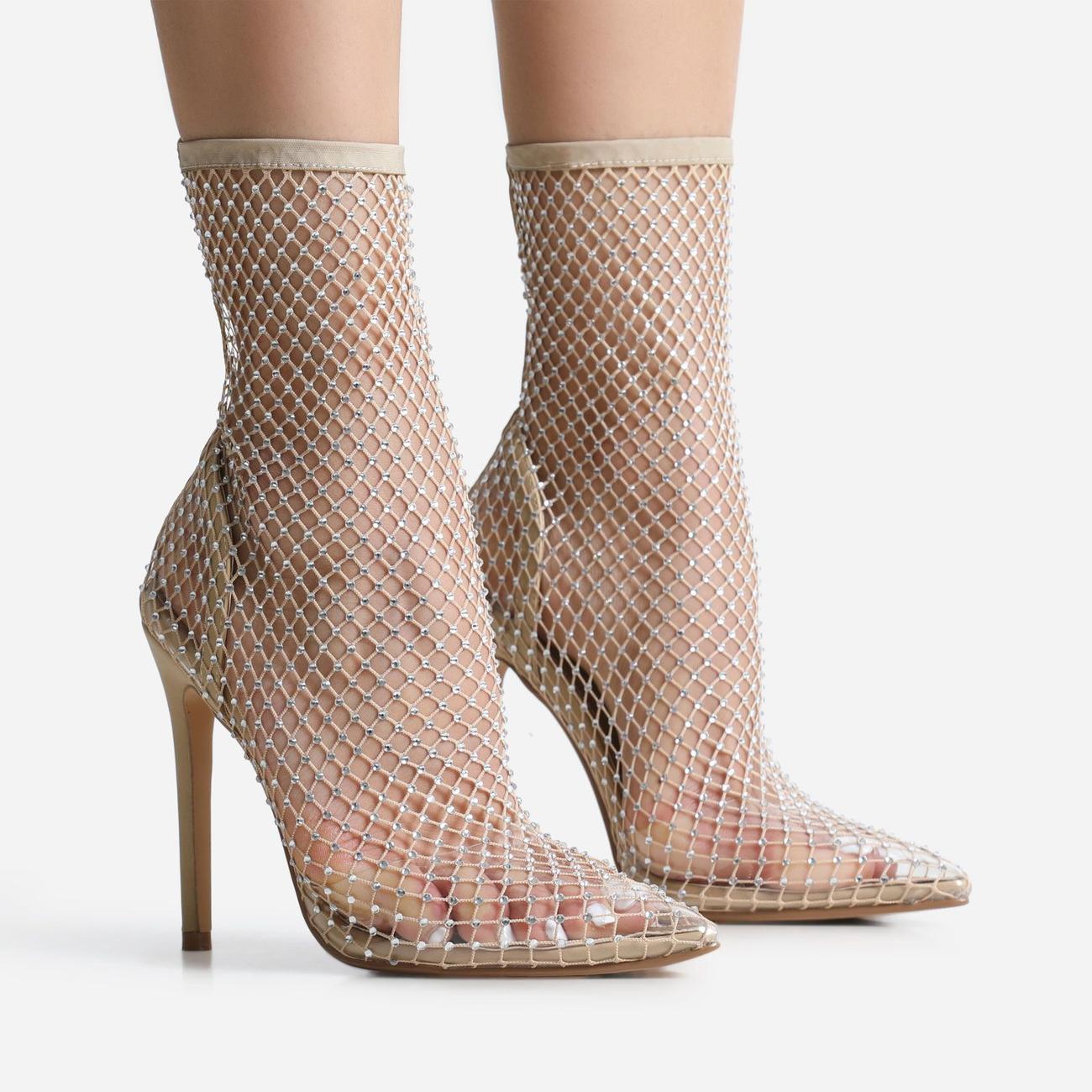 Vakili Diamante Detail Heel Ankle Sock Boot In Nude Fishnet Image 2