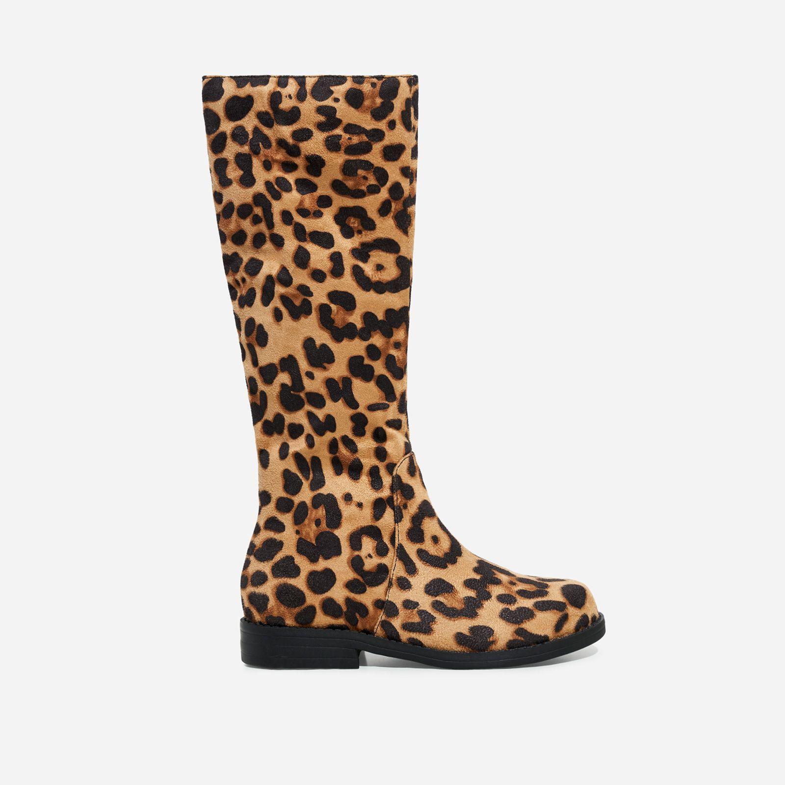 Tan Leopard Print Faux Suede