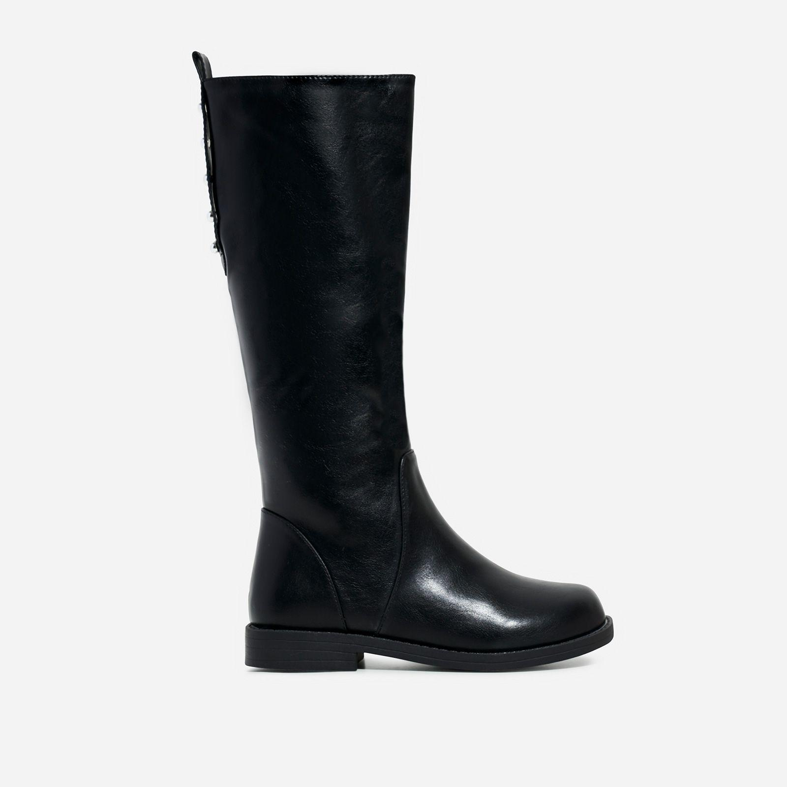 Long Boot In Black Faux Leather