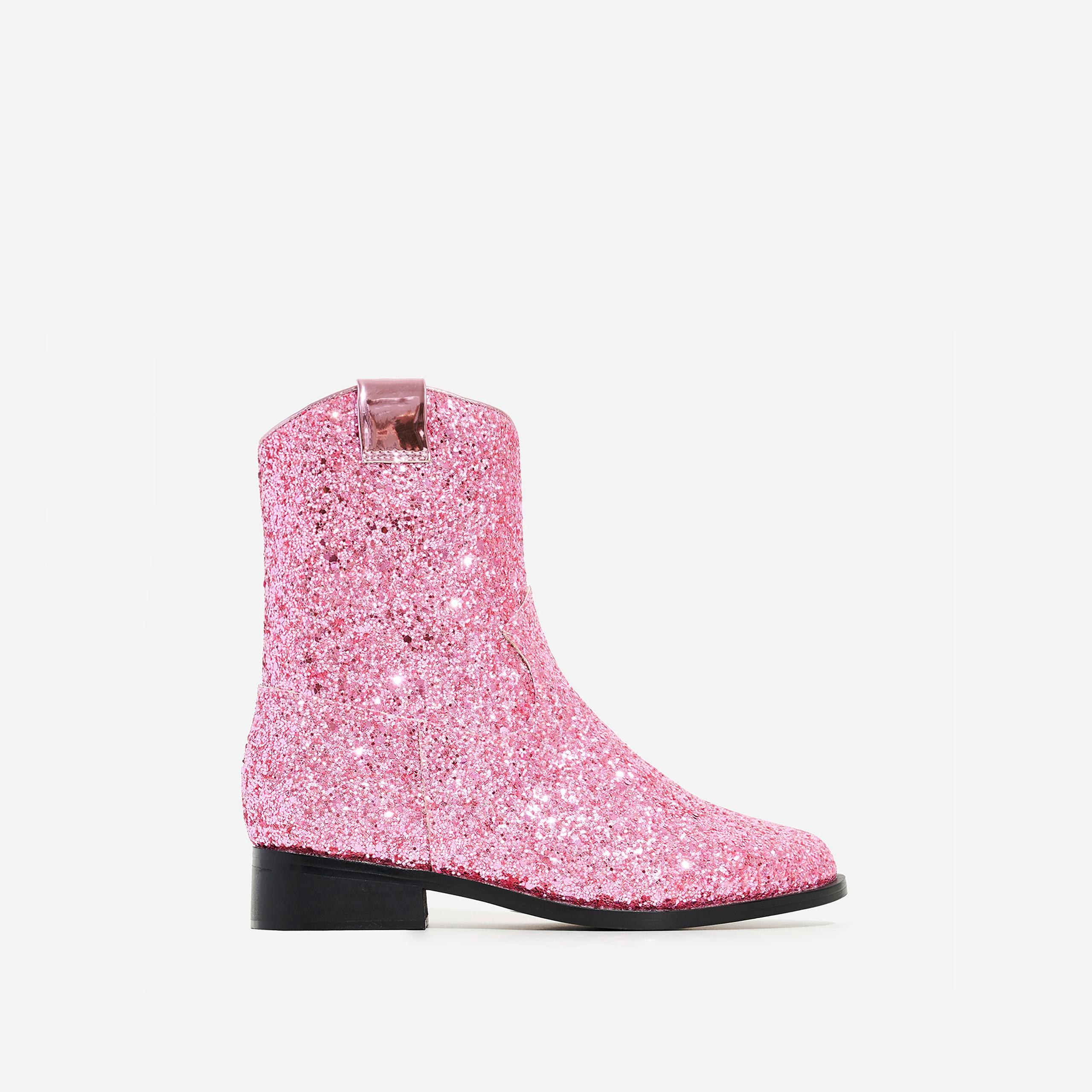 Ankle Western Boot In Pink Glitter