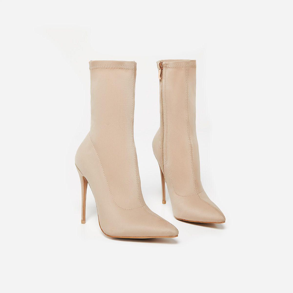Fiona Pointed Toe Ankle Boot In Nude