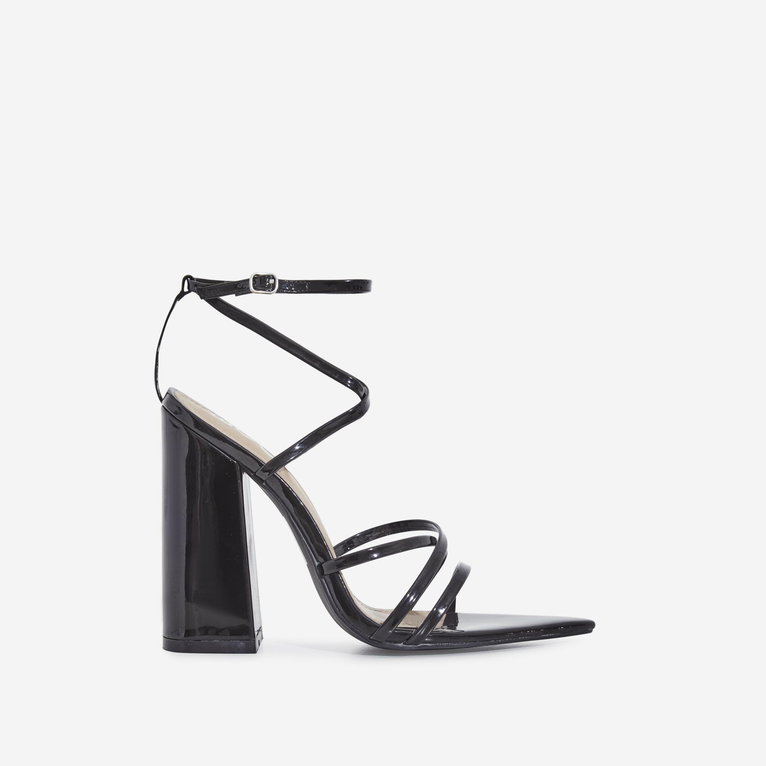 Halo Pointed Toe Block Heel In Black