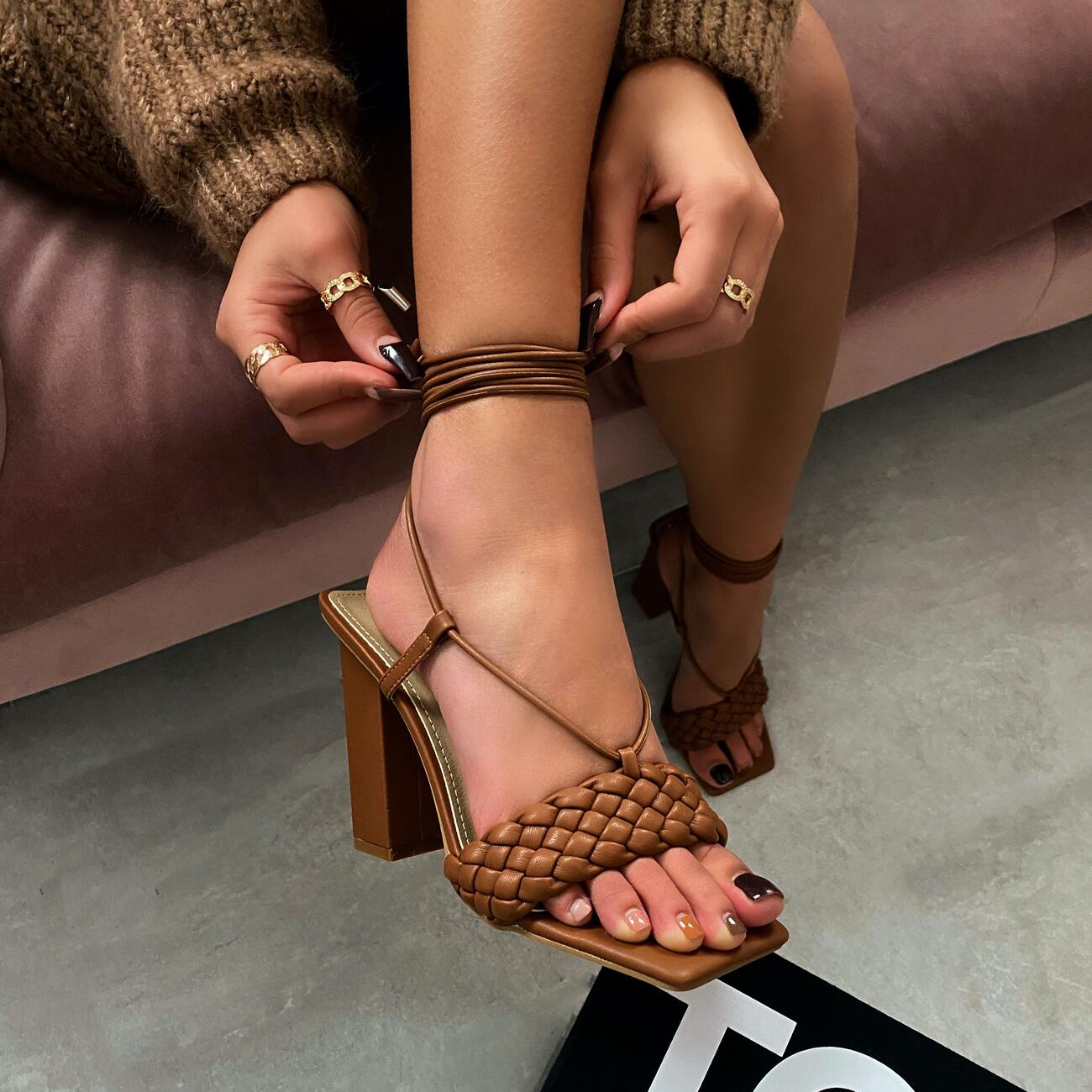 Pattaya Lace Up Square Toe Woven Block Heel In Tan Brown Faux Leather Image 1