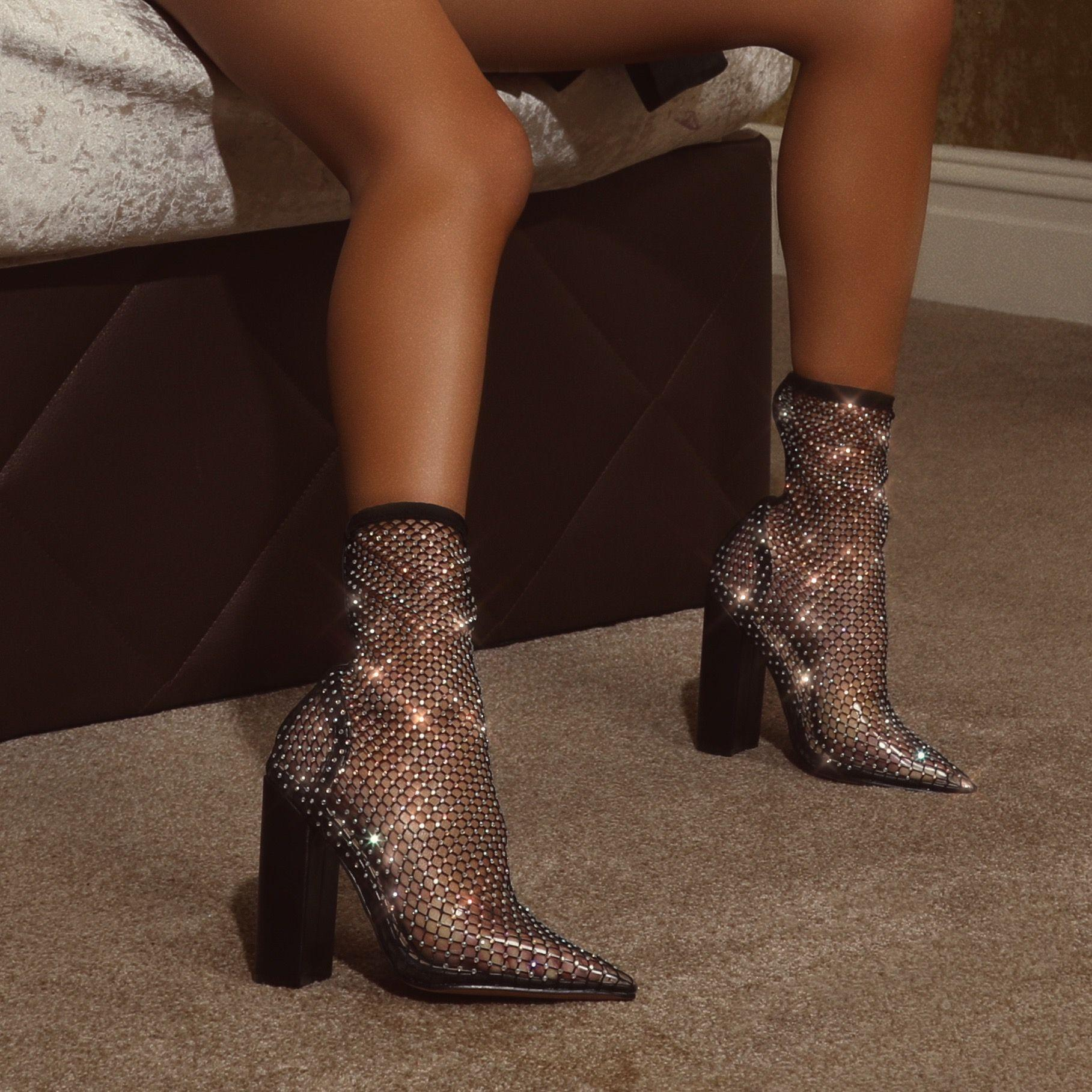 Mandi Diamante Detail Block Heel Ankle