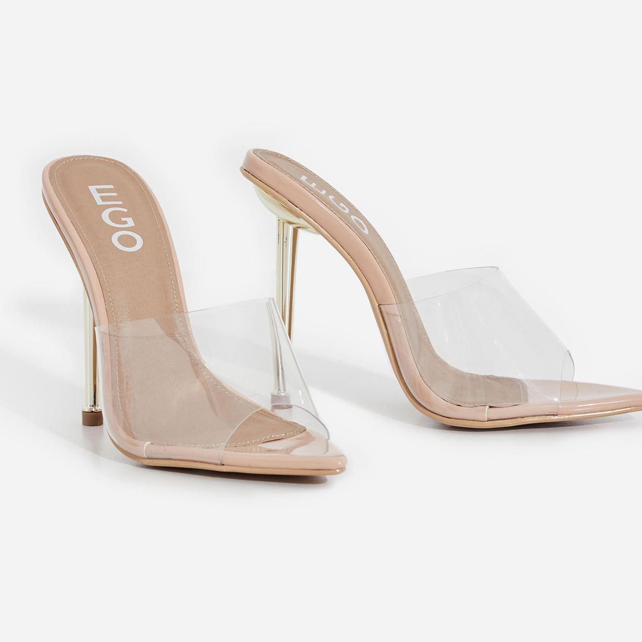 KingKing Clear Perspex Pointed Peep Toe Heel Mule In Nude Patent Image 3