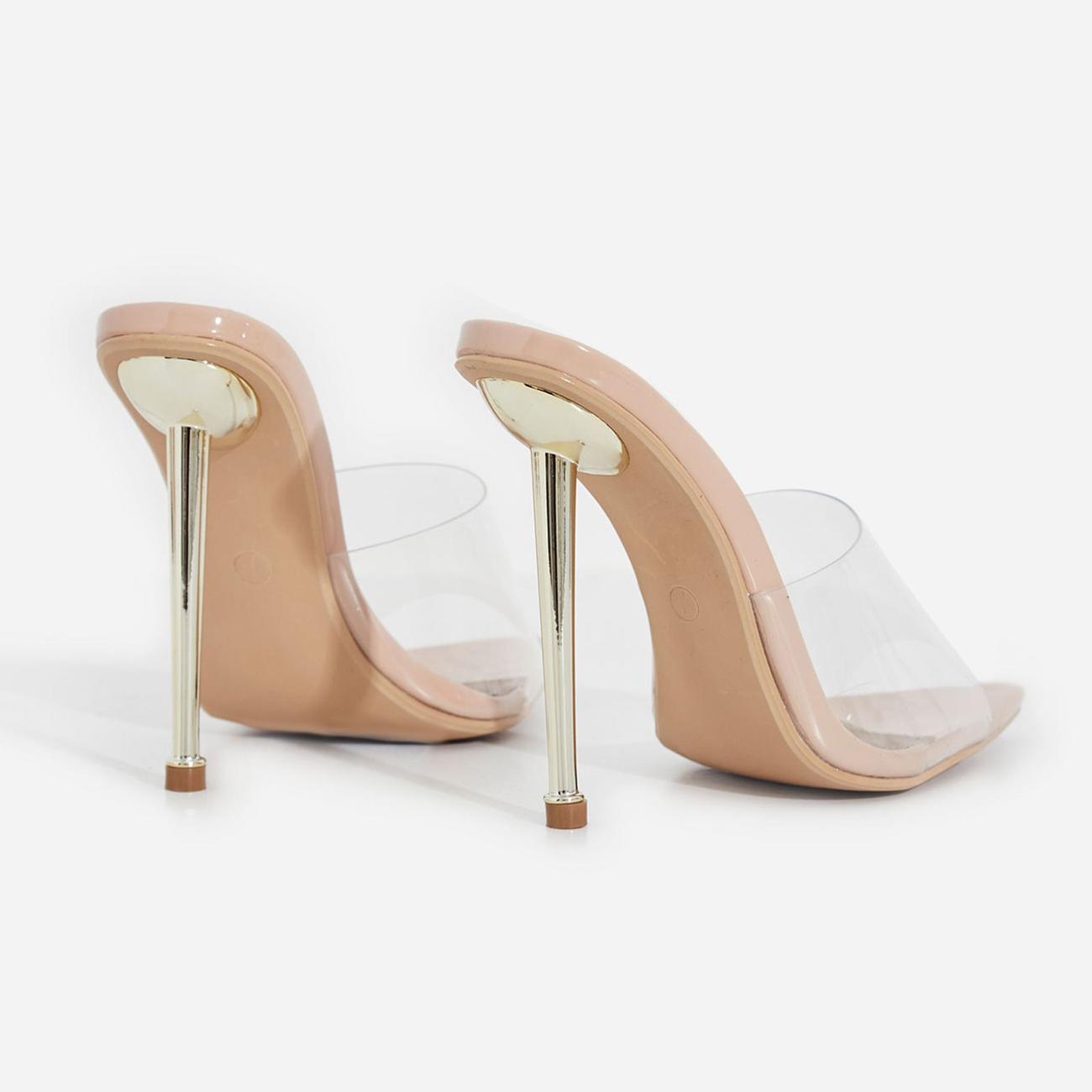 KingKing Clear Perspex Pointed Peep Toe Heel Mule In Nude Patent Image 4
