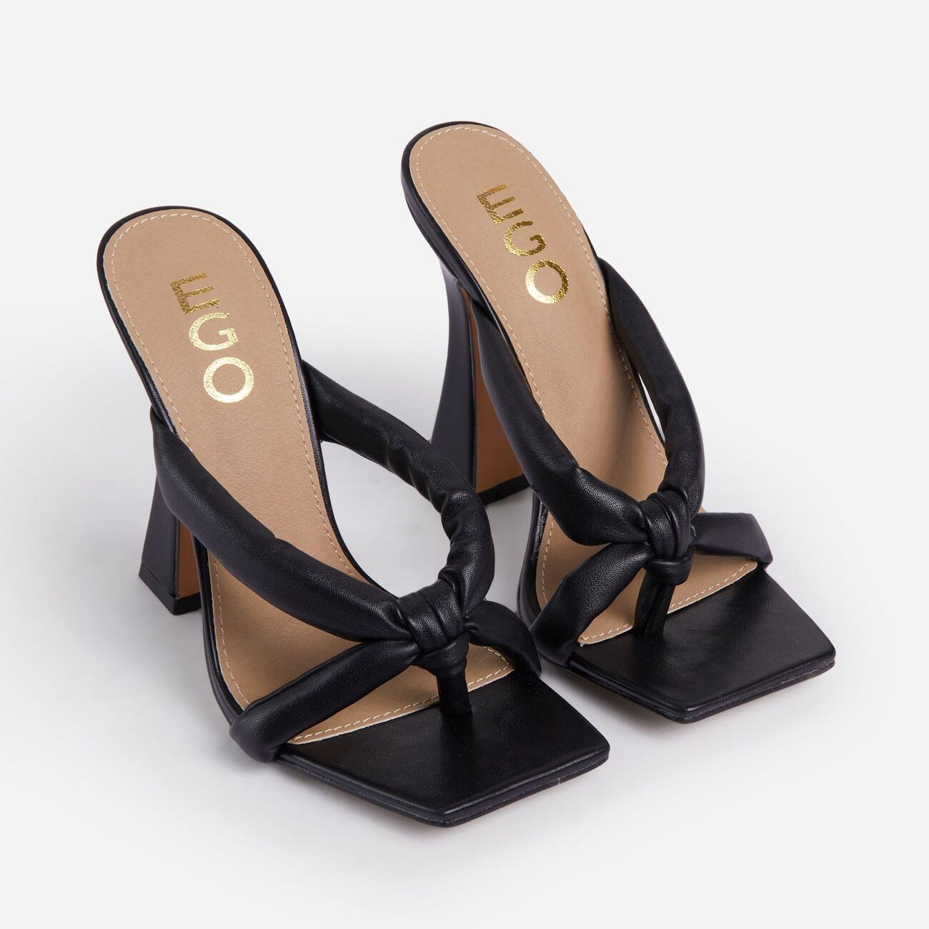 Loyal Padded Cross Strap Square Toe Heel Mule In Black Faux Leather Image 2