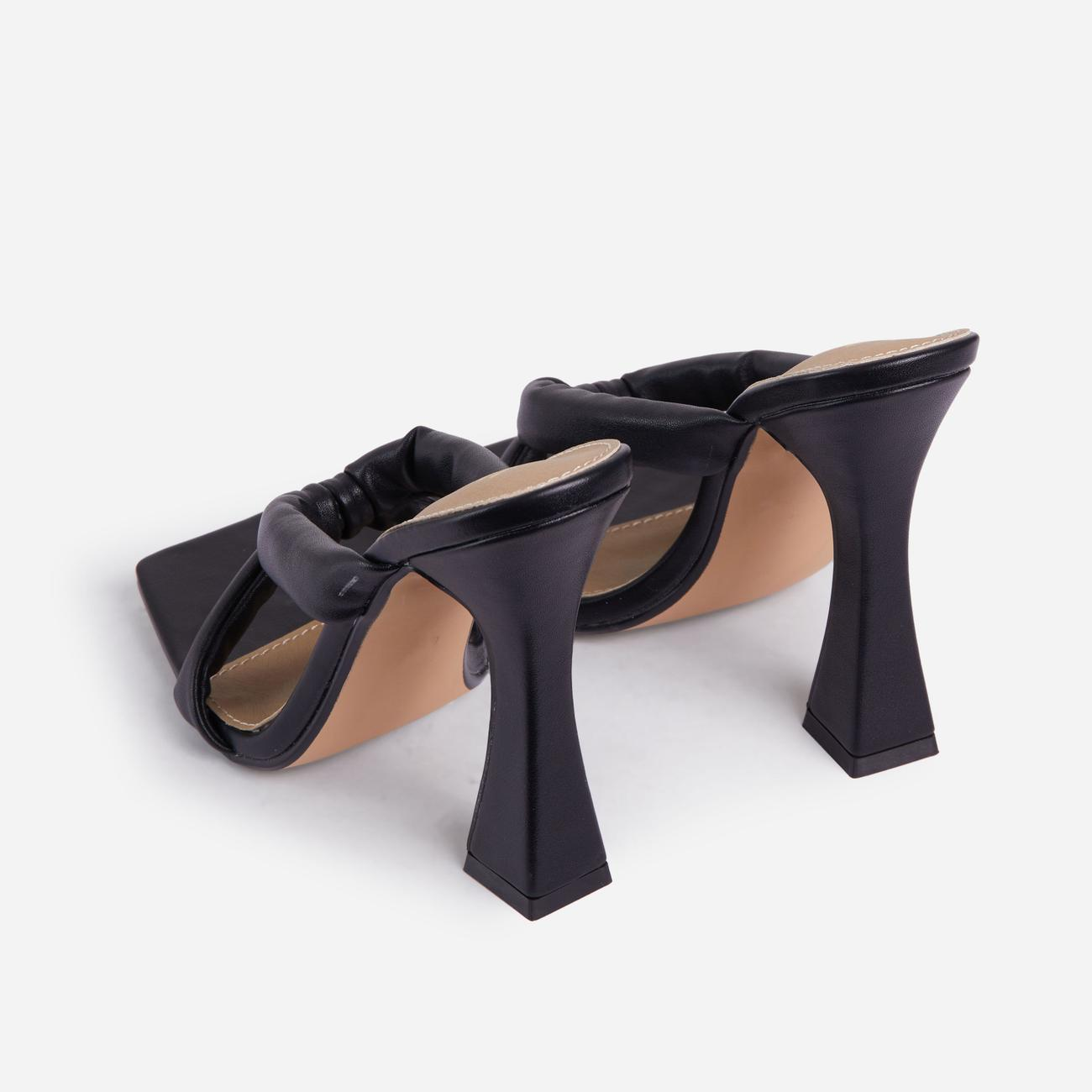 Loyal Padded Cross Strap Square Toe Heel Mule In Black Faux Leather Image 3
