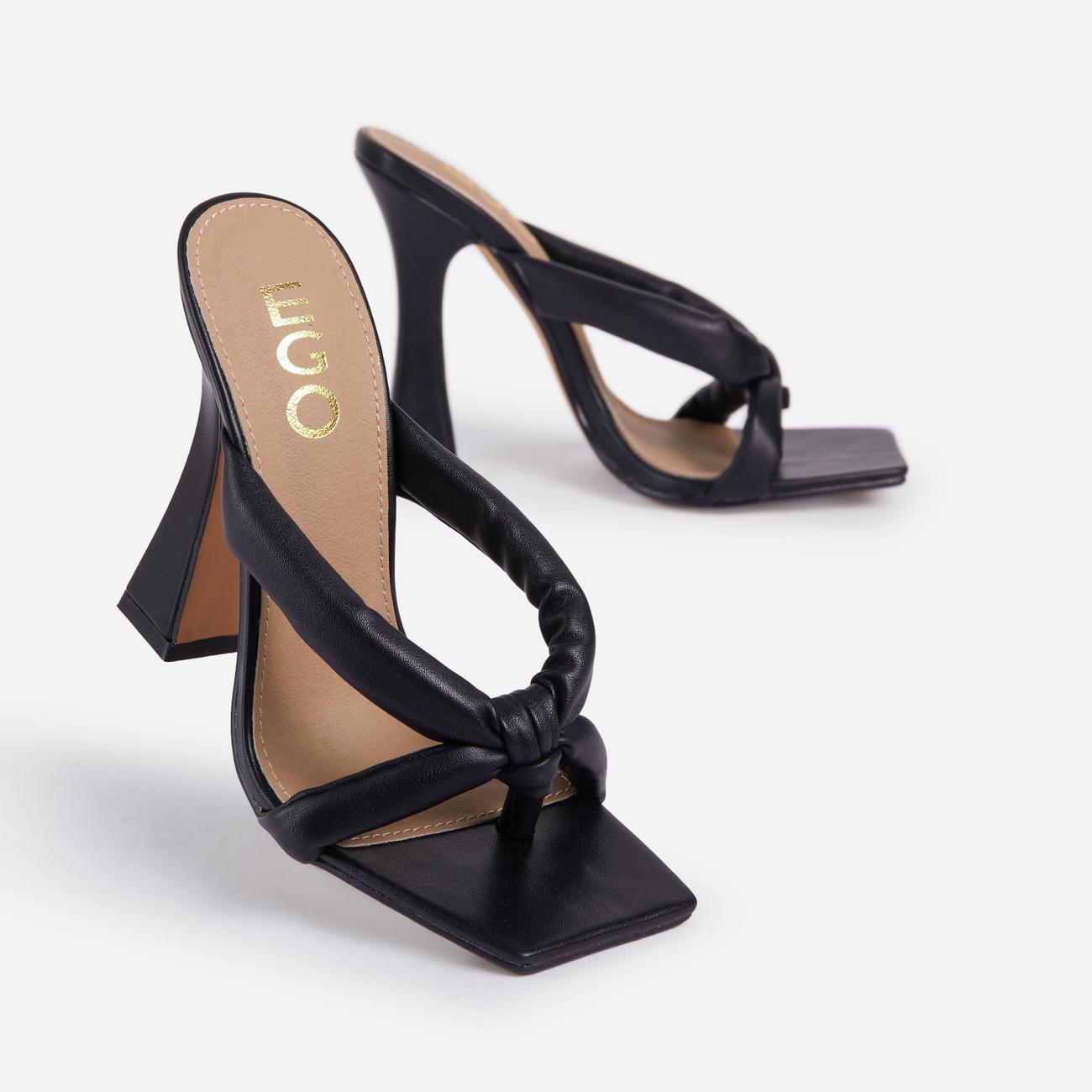 Loyal Padded Cross Strap Square Toe Heel Mule In Black Faux Leather Image 5
