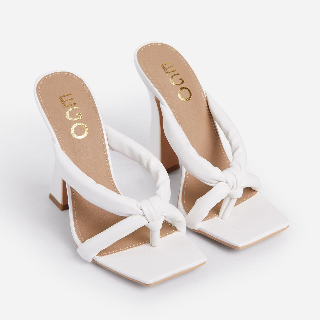 Loyal Padded Cross Strap Square Toe Heel Mule In White Faux Leather Image 4