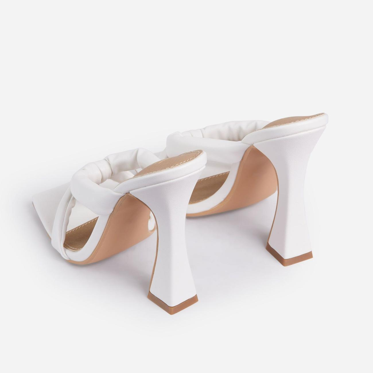 Loyal Padded Cross Strap Square Toe Heel Mule In White Faux Leather Image 5