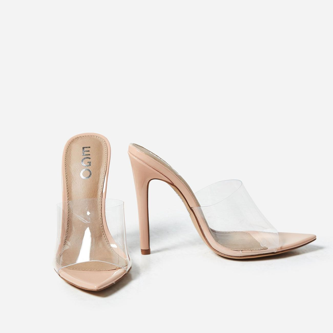 Pinup - Womens Glossy Nude Patent 4.5 Inch Mary Jane Heels