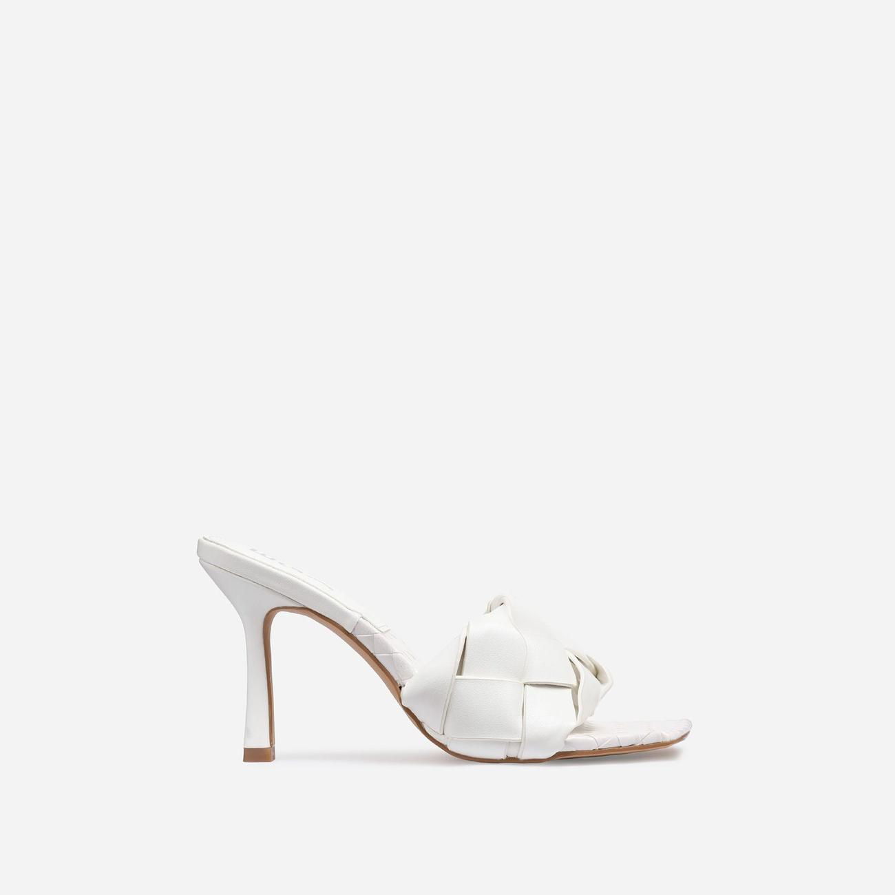 Turntup Woven Square Peep Toe Mule In White Faux Leather Image 1