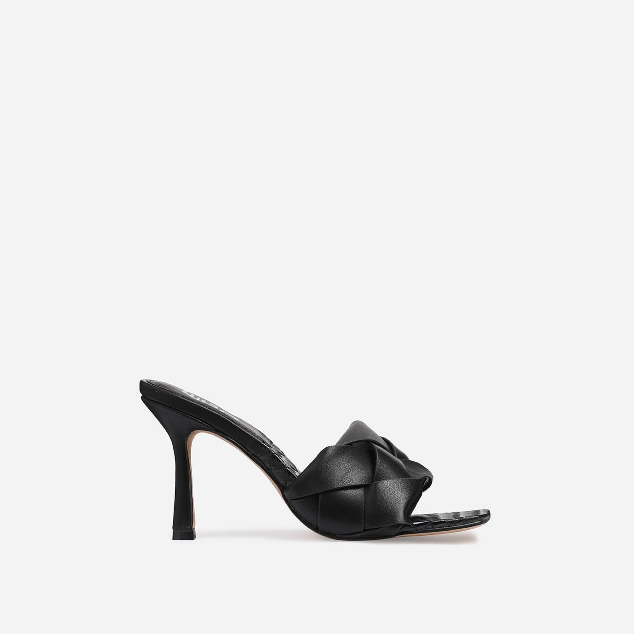 Turntup Woven Square Peep Toe Mule In Black Faux Leather Image 2