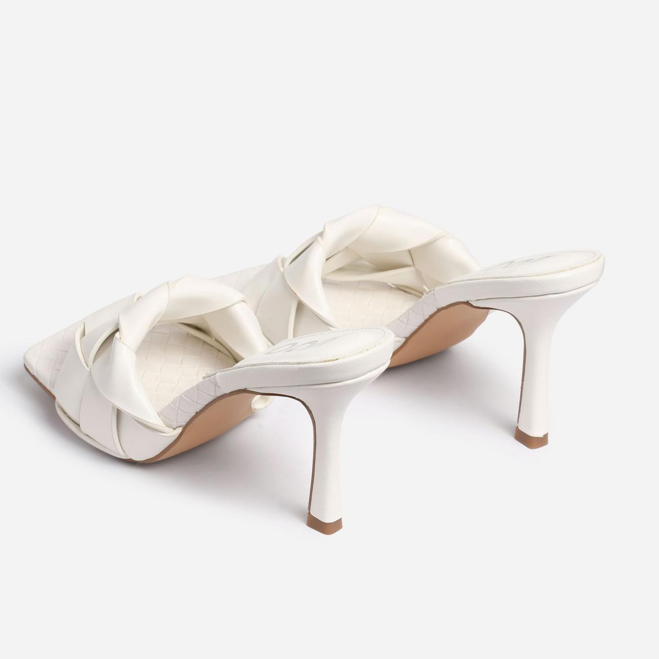 Turntup Woven Square Peep Toe Mule In White Faux Leather Image 3