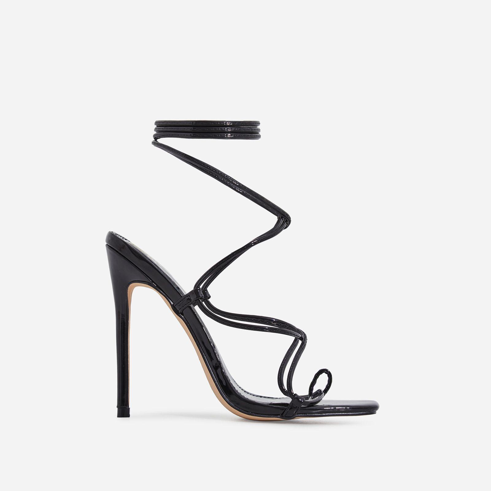 Paris Square Toe Lace Up Heel In Black