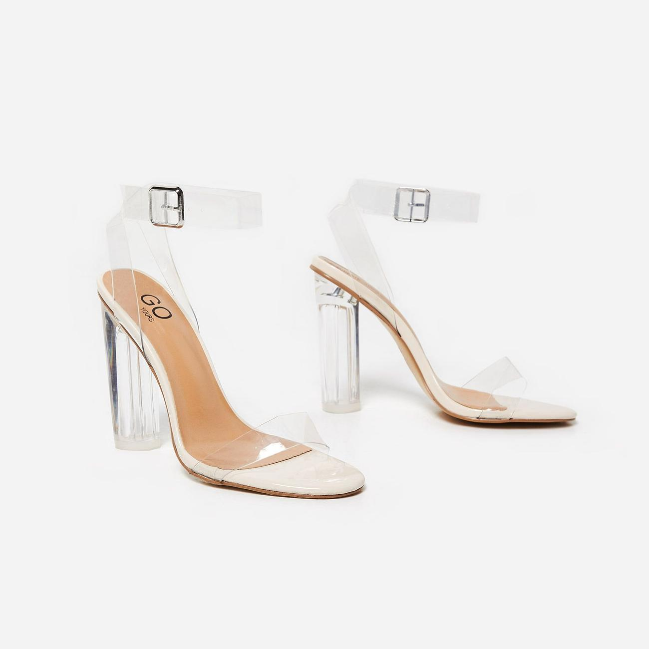 Ariana Barely There Perspex Block Clear Heel In Nude Patent Image 4