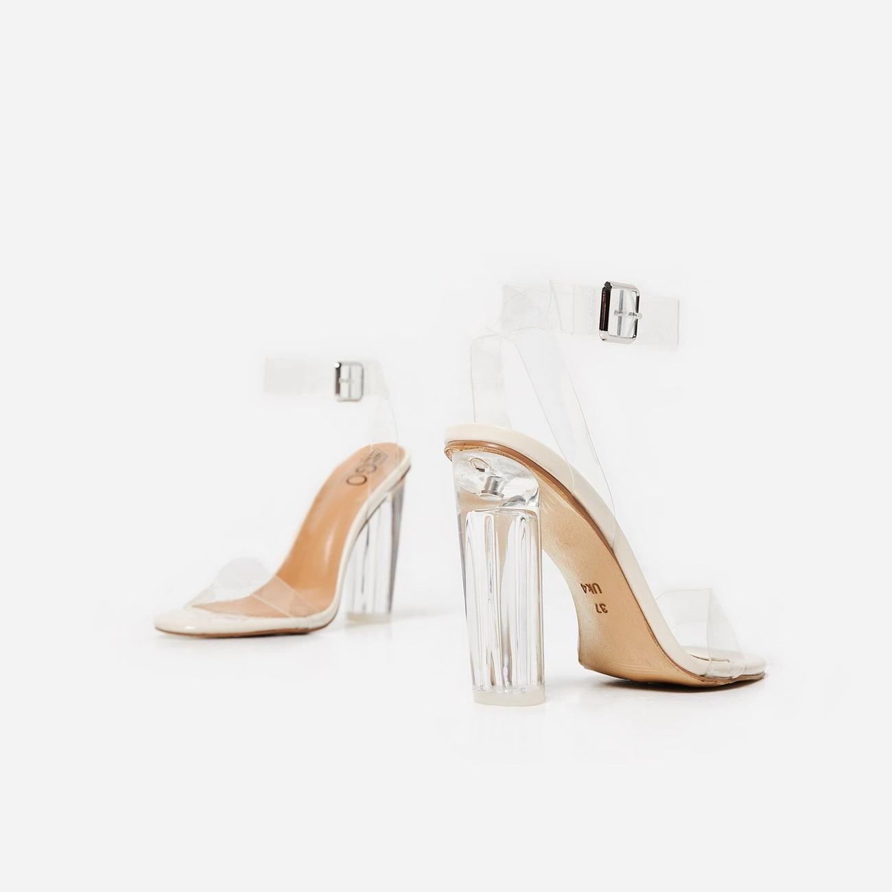 Ariana Barely There Perspex Block Clear Heel In Nude Patent Image 5