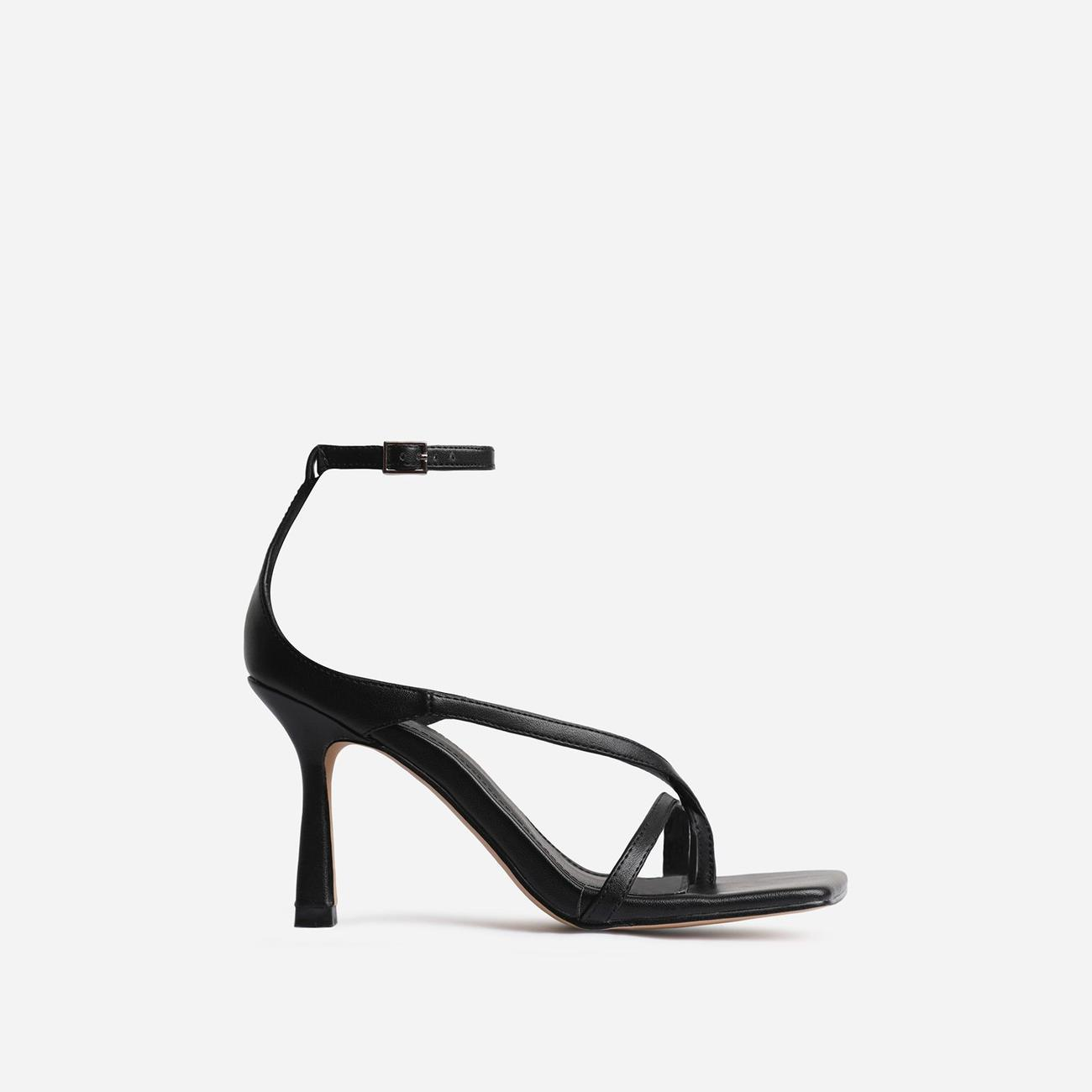 Eve Square Toe Strappy Heel In Black Faux Leather Image 1
