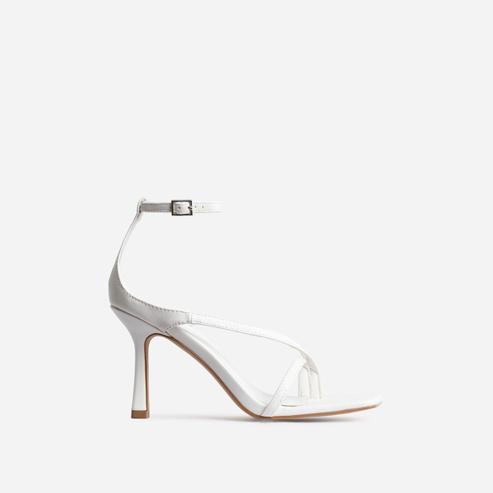 Eve Square Toe Strappy Heel In White