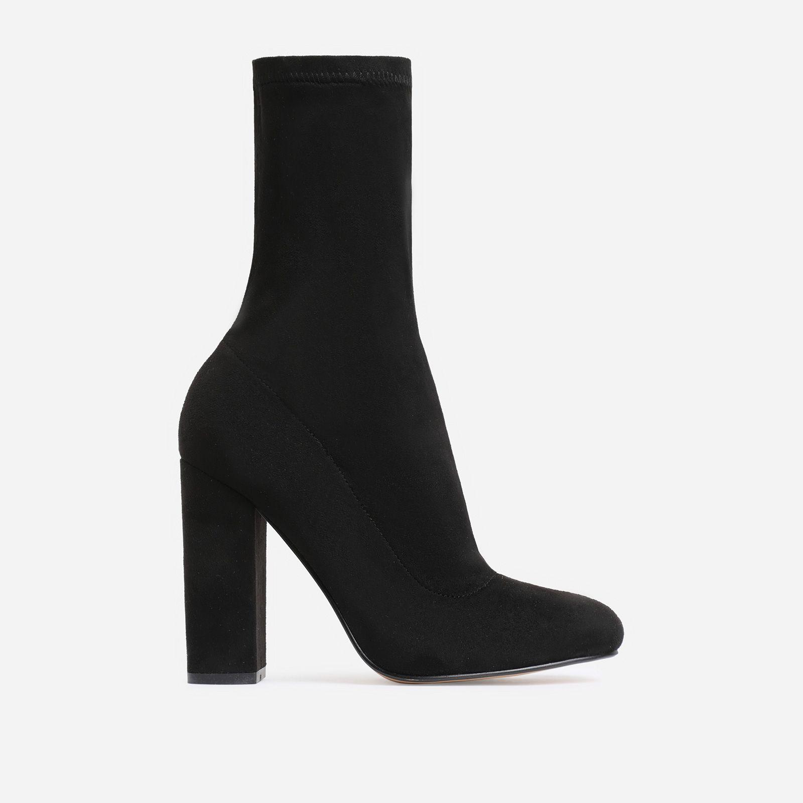Hayden Block Heel Sock Boot In Black