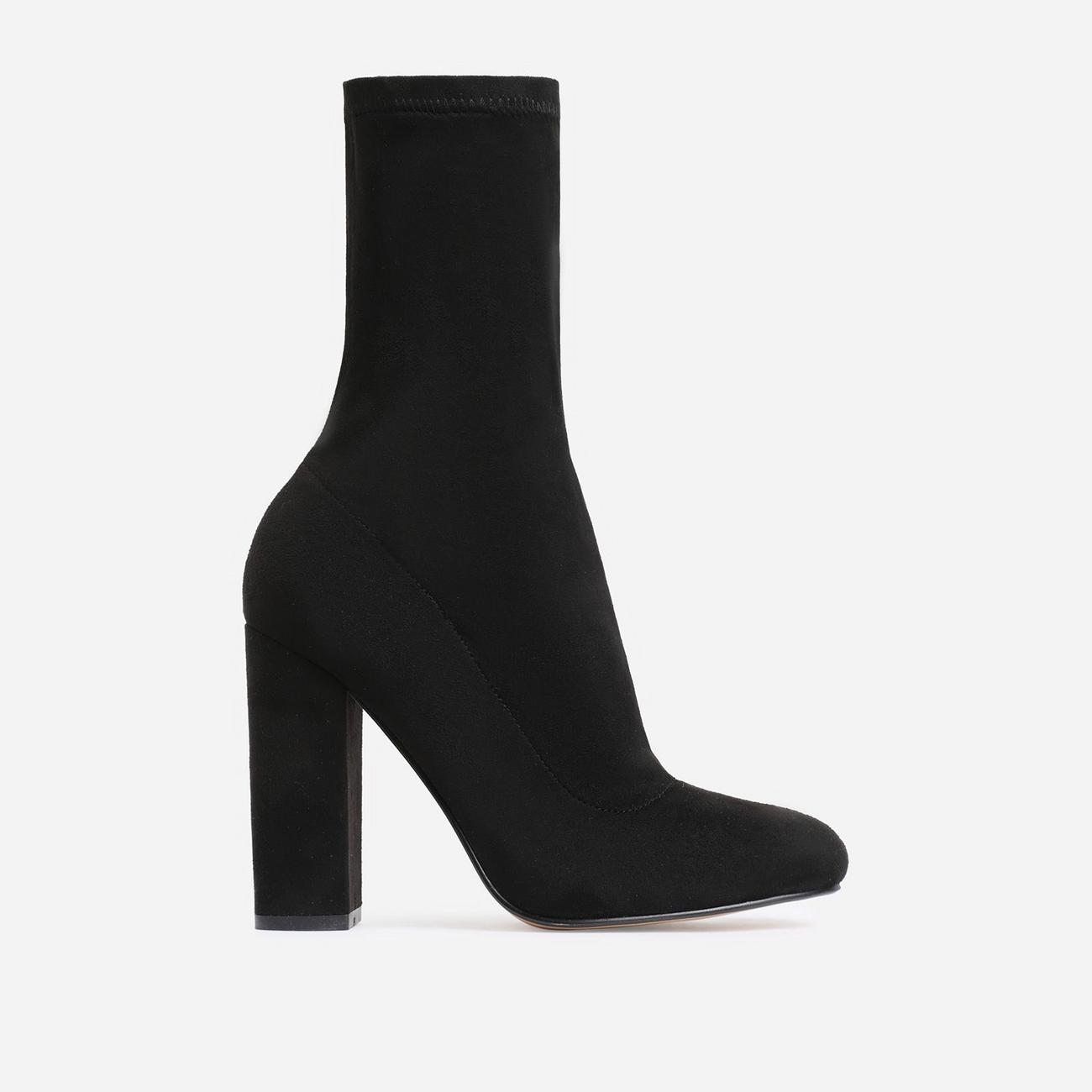 Hayden Block Heel Sock Boot In Black Faux Suede Image 1