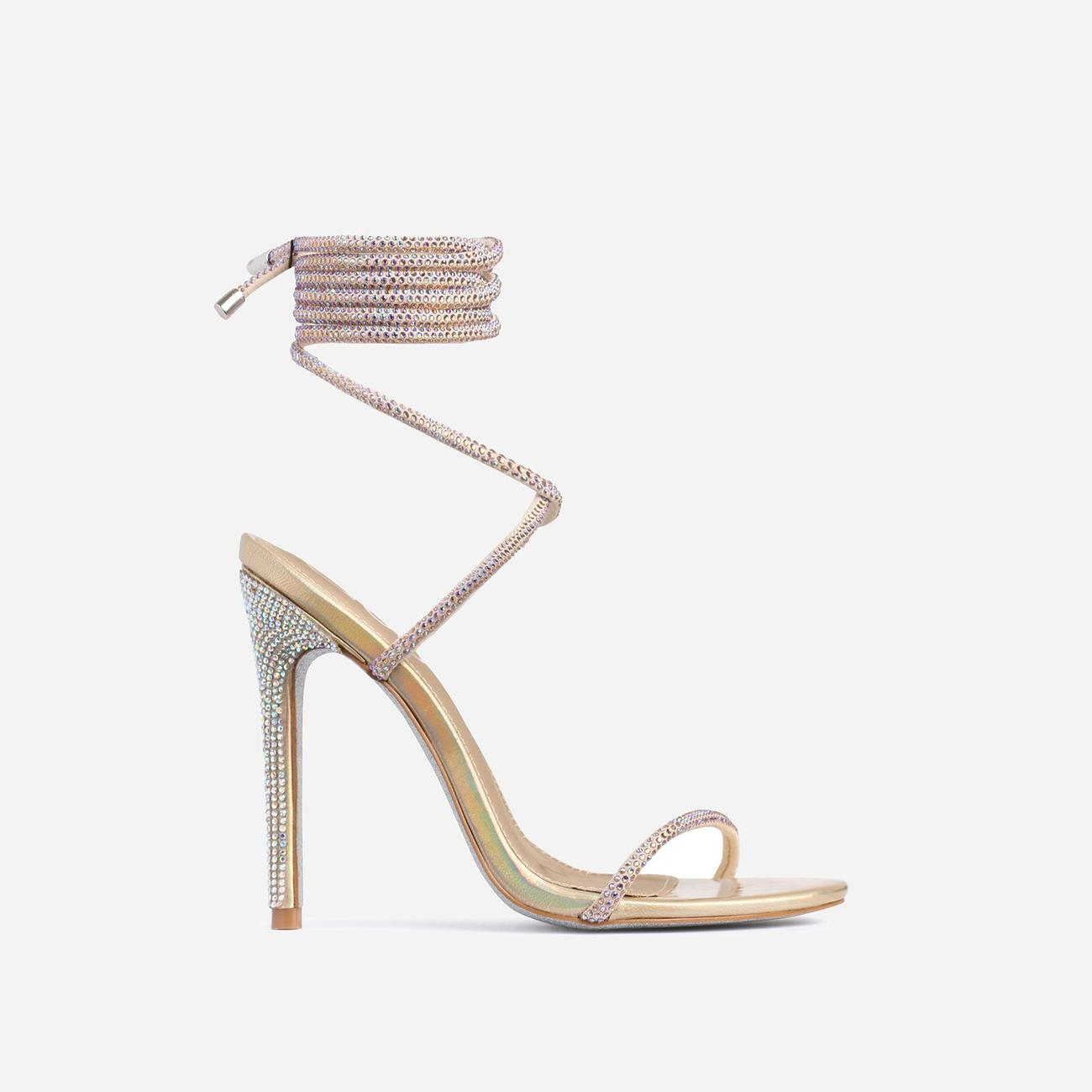 Carmella Glitter Sole Diamante Detail Lace Up Heel In Gold Faux Leather Image 2
