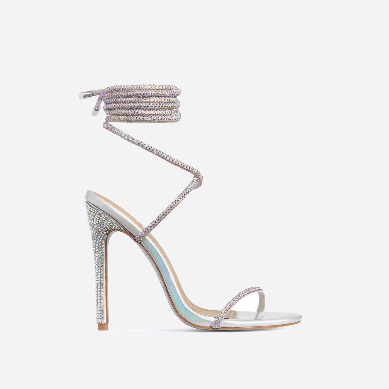 Carmella Glitter Sole Diamante Detail Lace Up Heel In Silver Holographic Faux Leather Image 2