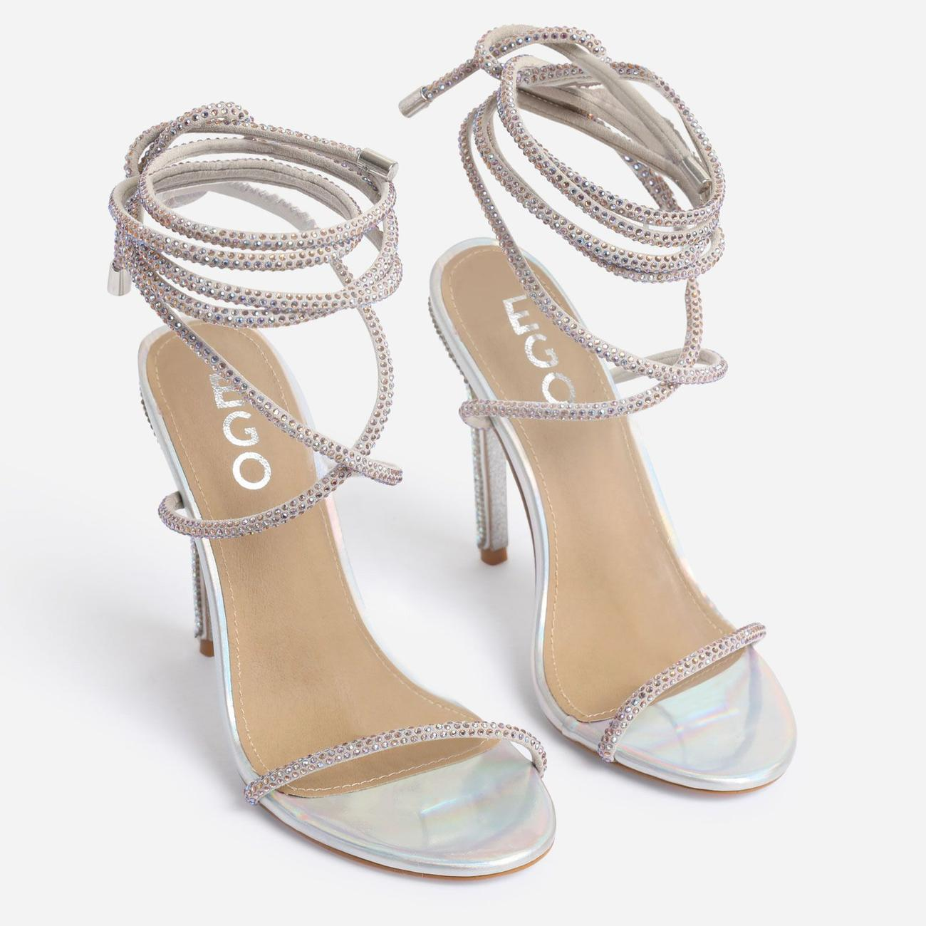 Carmella Glitter Sole Diamante Detail Lace Up Heel In Silver Holographic Faux Leather Image 3