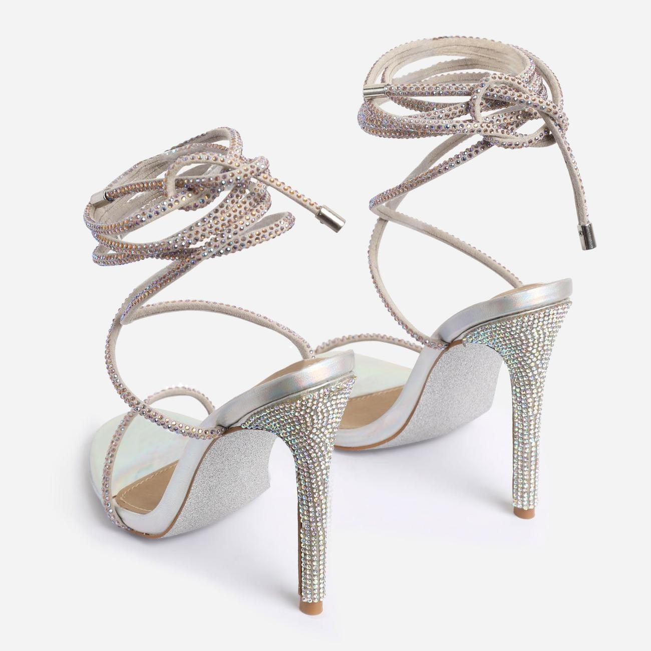 Carmella Glitter Sole Diamante Detail Lace Up Heel In Silver Holographic Faux Leather Image 4