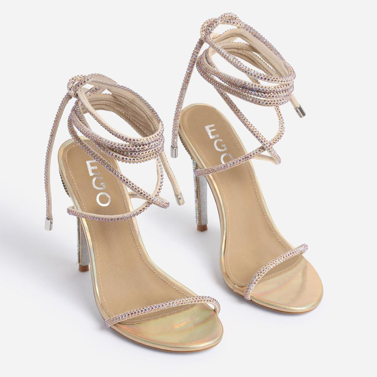 Carmella Glitter Sole Diamante Detail Lace Up Heel In Gold Faux Leather Image 3