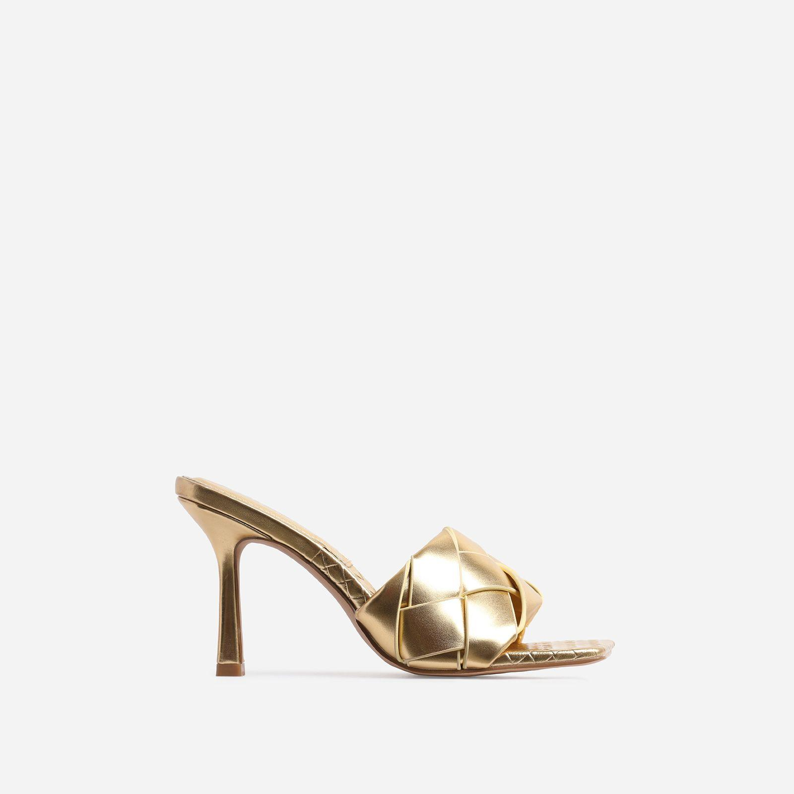 Turntup Woven Square Peep Toe Mule In