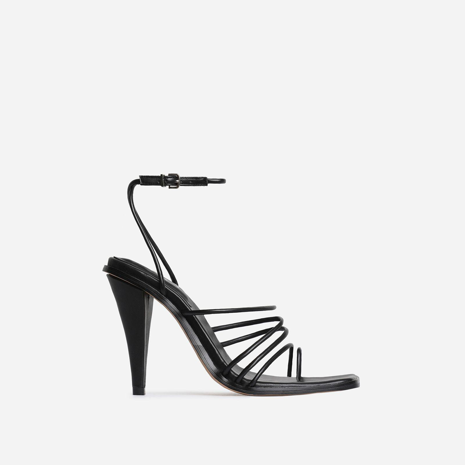 Amory Square Toe Strappy Heel In Black Faux Leather Image 1