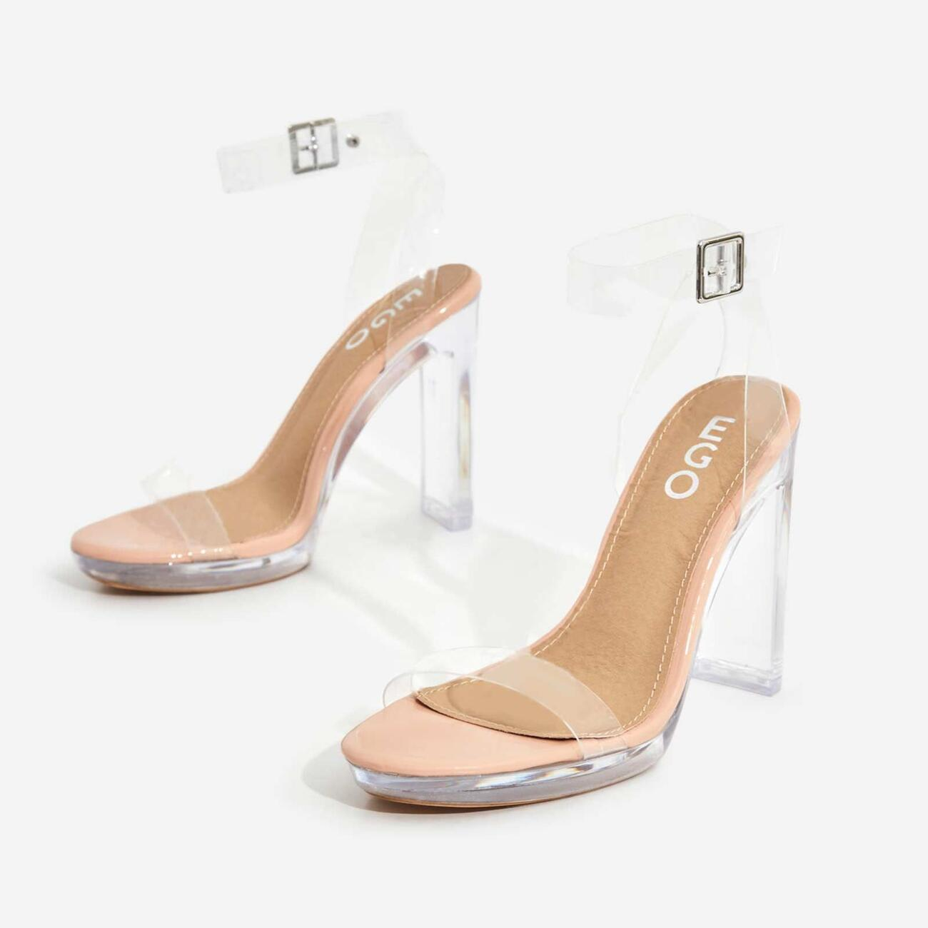 Icy Platform Barely There Perspex Thin Block Clear Heel In Nude Patent Image 2