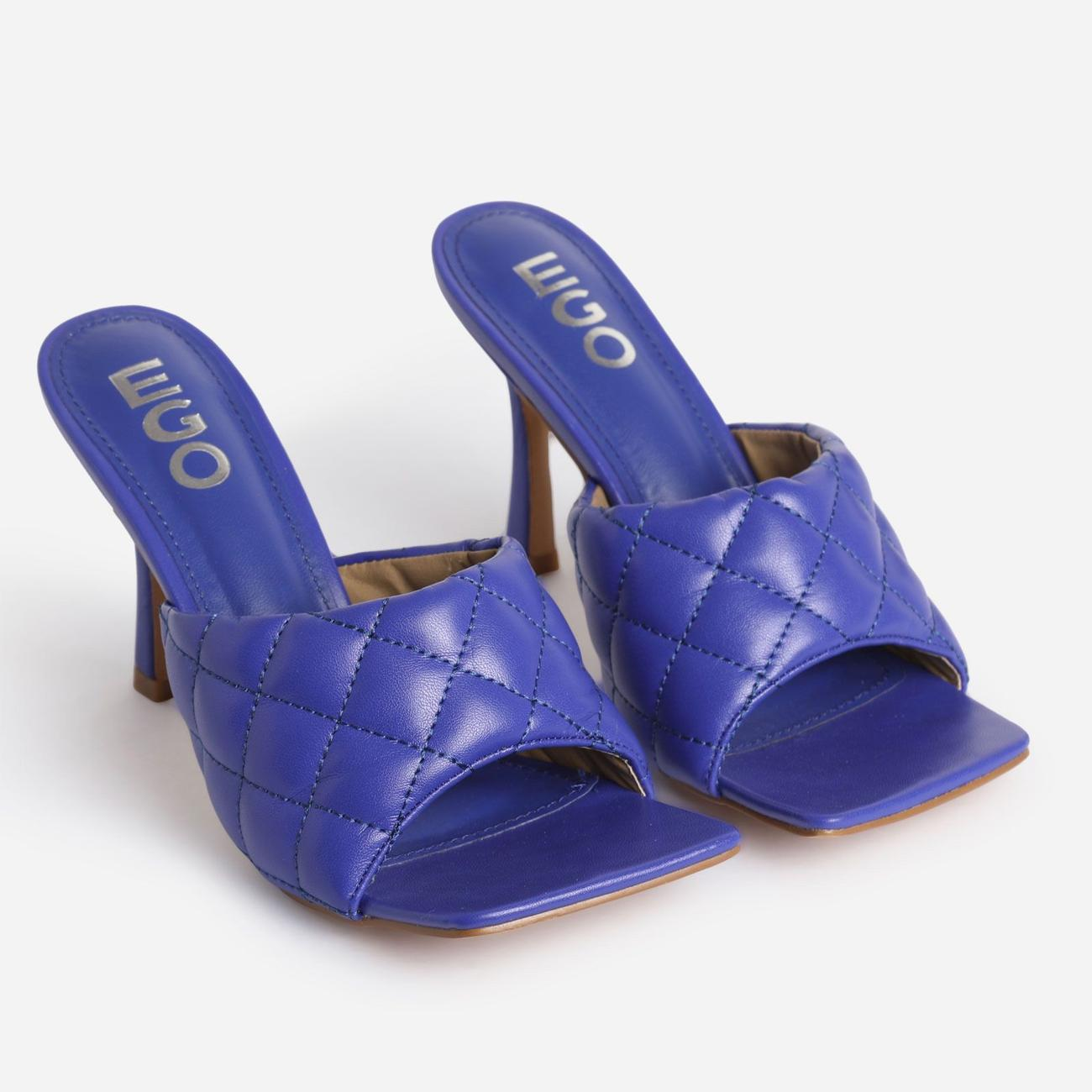 Tropez Square Toe Quilted Heel Mule In Purple Faux Leather Image 2