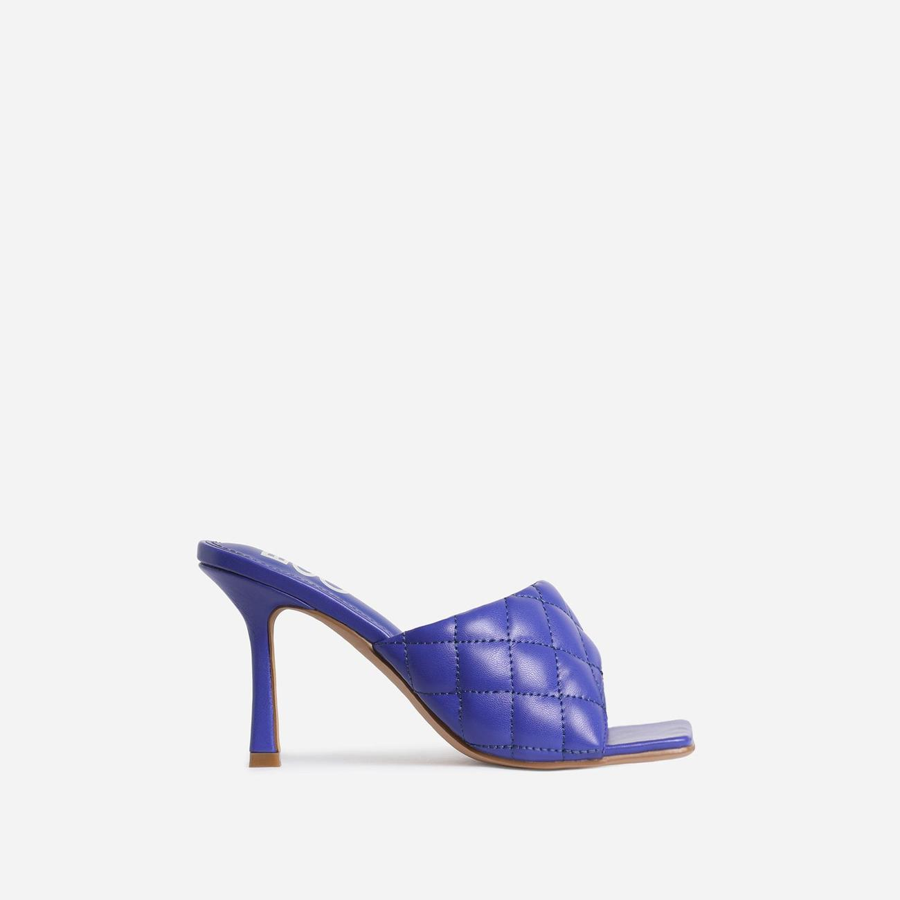 Tropez Square Toe Quilted Heel Mule In Purple Faux Leather Image 1