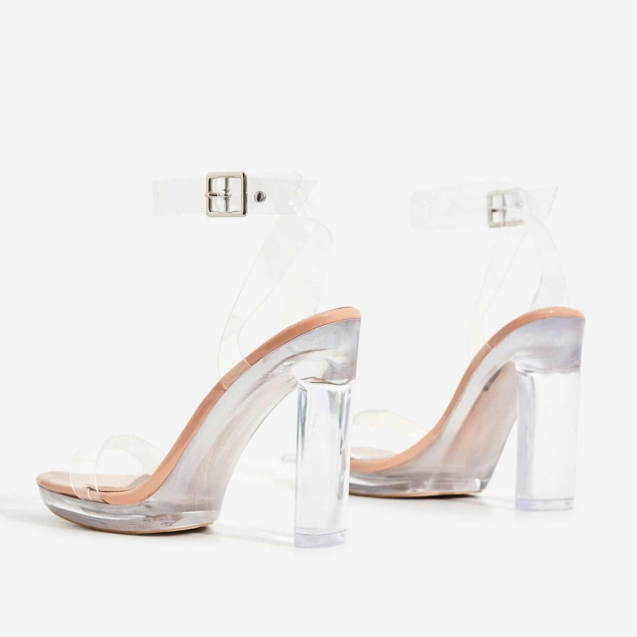 Icy Platform Barely There Perspex Thin Block Clear Heel In Nude Patent Image 3
