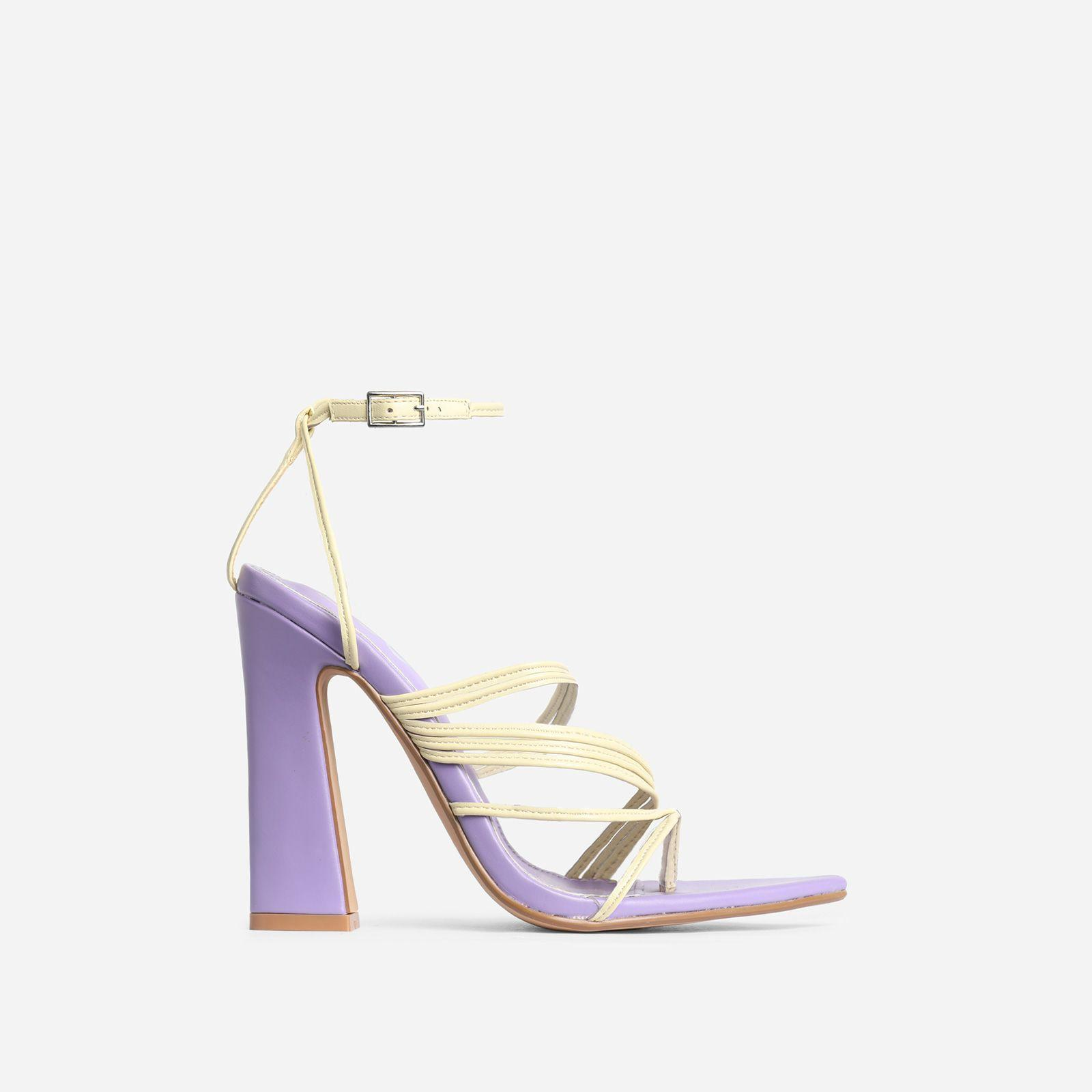 Scout Pointed Toe Yellow Strappy Flared Block Heel In Lilac Purple Faux Leather Image 1