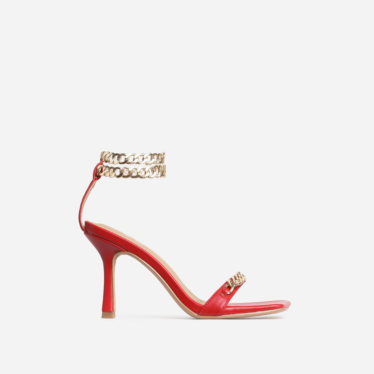 Venice Chain Detail Strap Square Toe Barely There Heel In Red Faux Leather Image 1