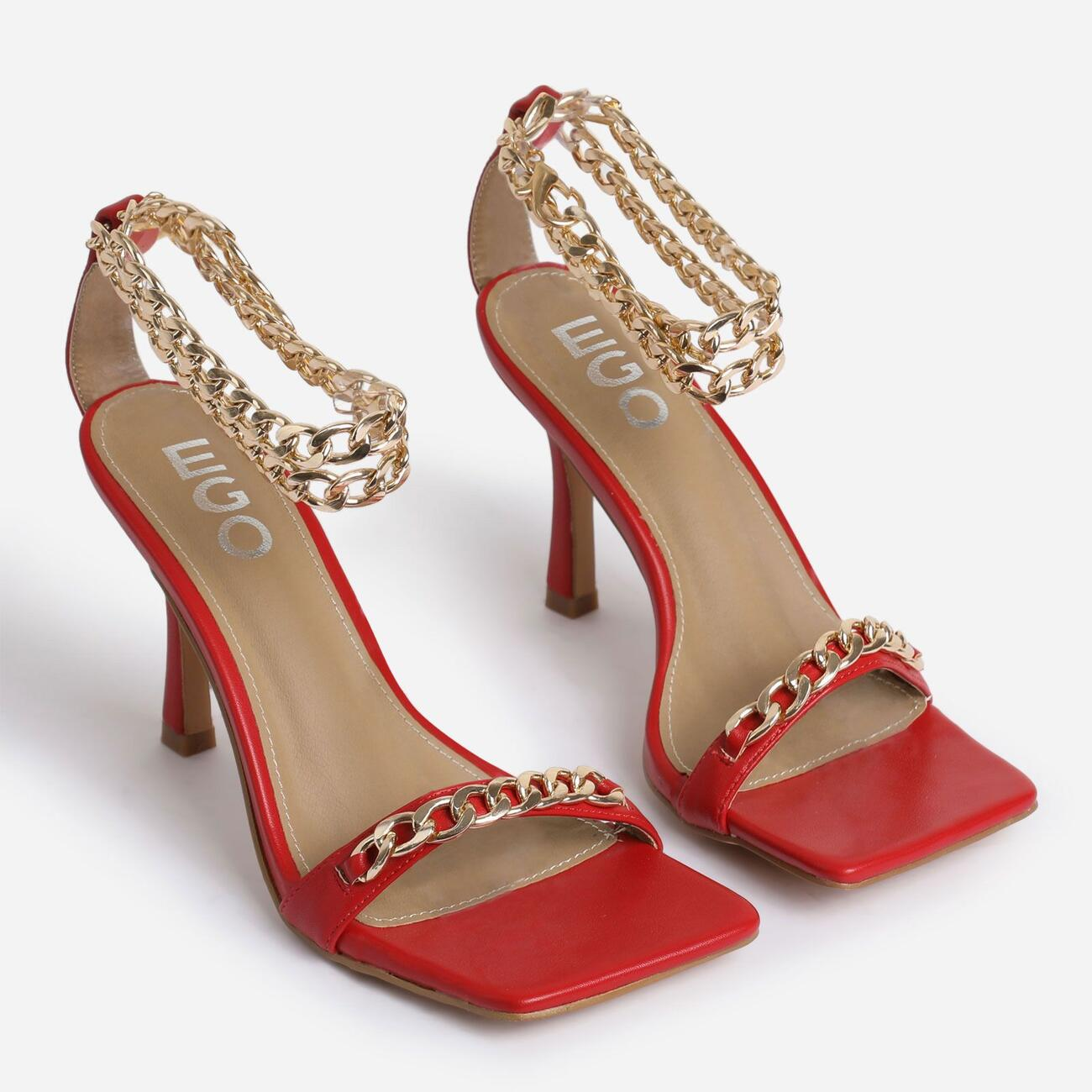 Venice Chain Detail Strap Square Toe Barely There Heel In Red Faux Leather Image 2