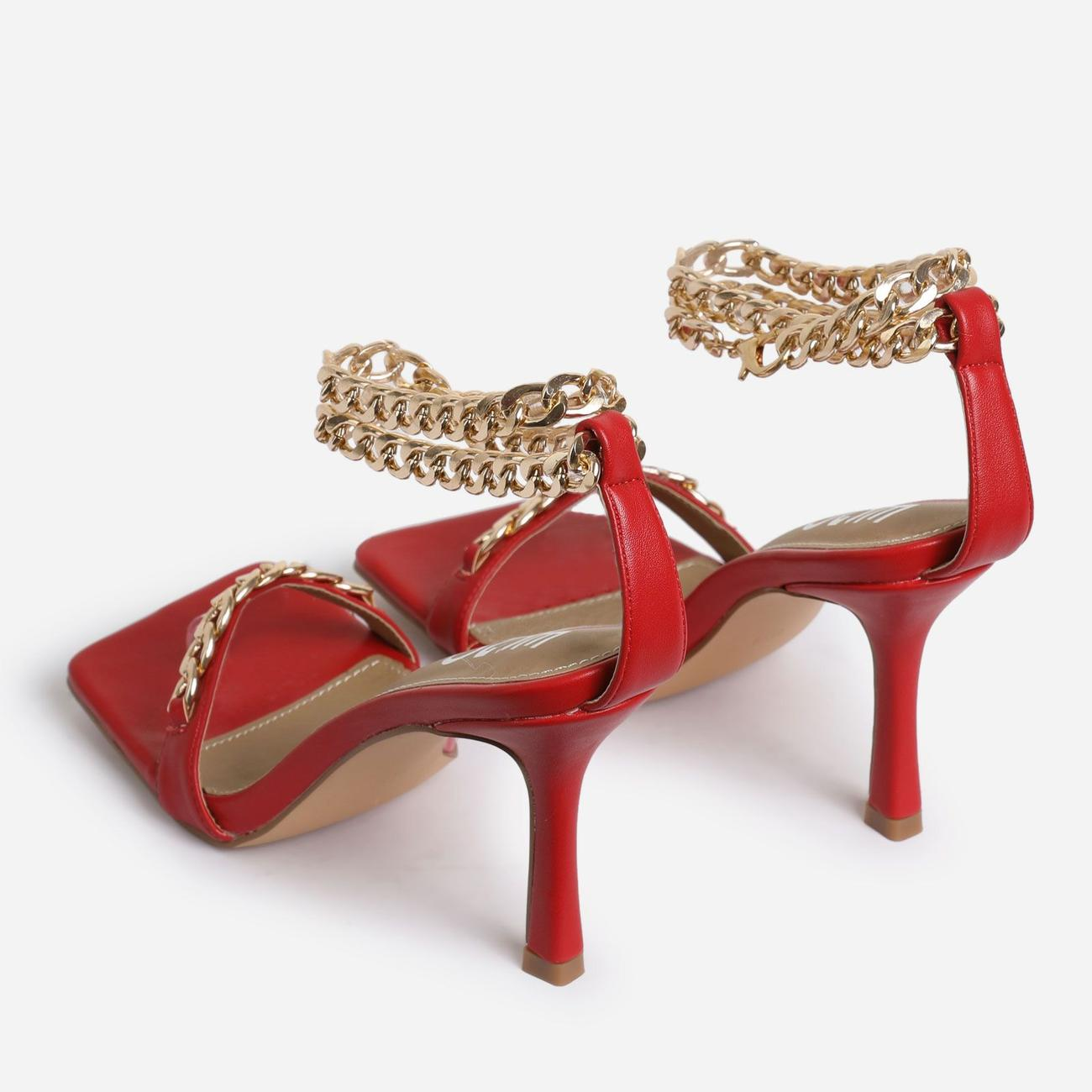 Venice Chain Detail Strap Square Toe Barely There Heel In Red Faux Leather Image 3