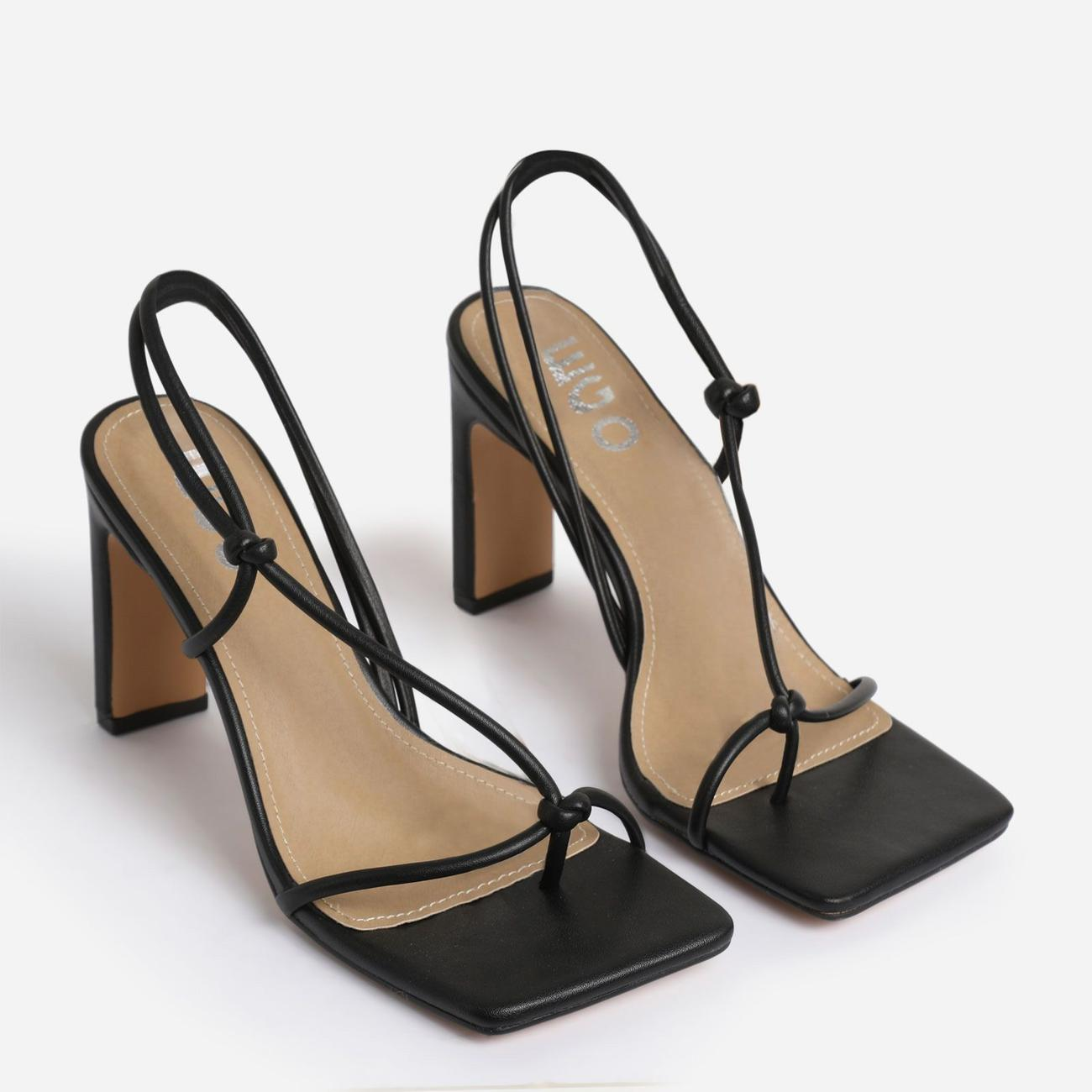 Marble Square Toe Knot Detail Heel In Black Faux Leather Image 3