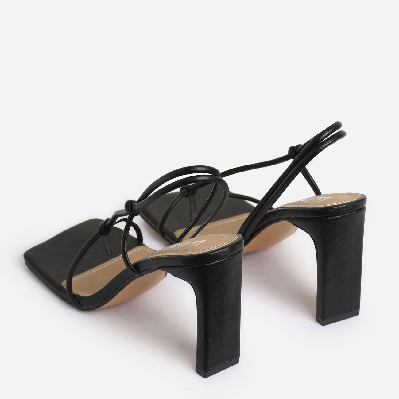 Marble Square Toe Knot Detail Heel In Black Faux Leather Image 4
