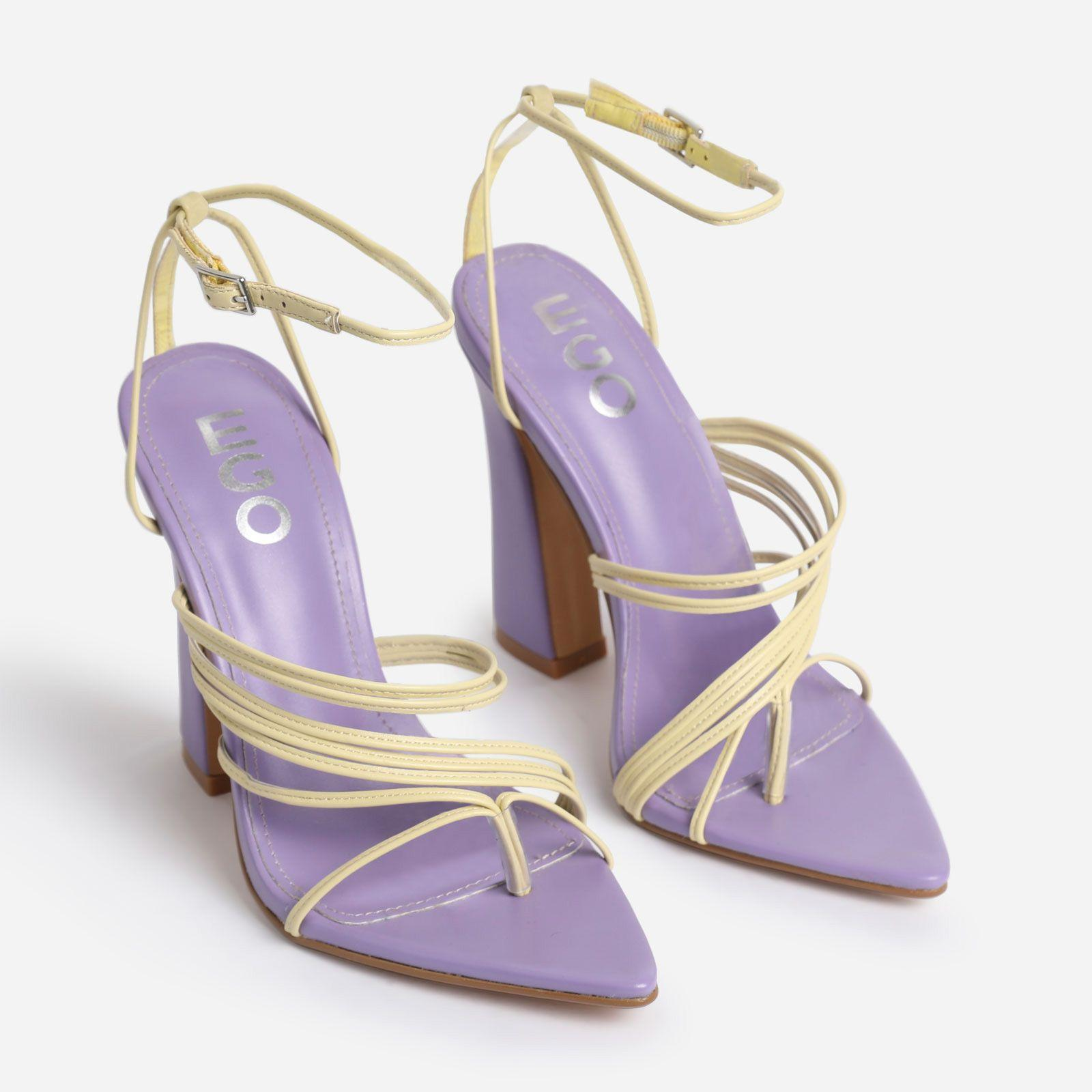 Scout Pointed Toe Yellow Strappy Flared Block Heel In Lilac Purple Faux Leather Image 2