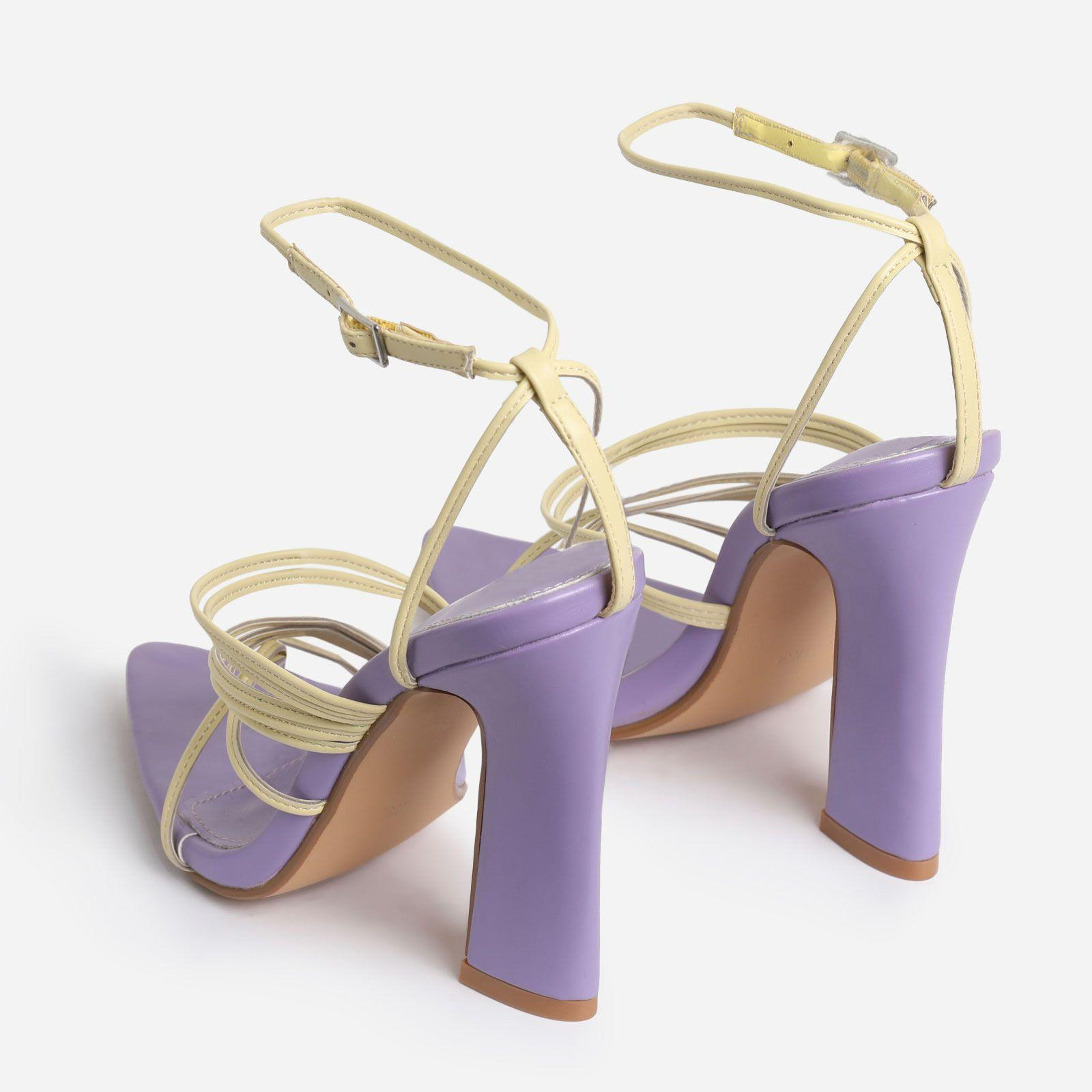 Scout Pointed Toe Yellow Strappy Flared Block Heel In Lilac Purple Faux Leather Image 3